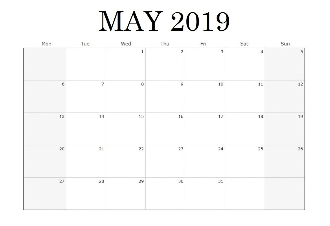 Waterproof May 2019 Blank Calendar In 2020 | Blank Calendar inside Free Printable Calendar 2020 Waterproof