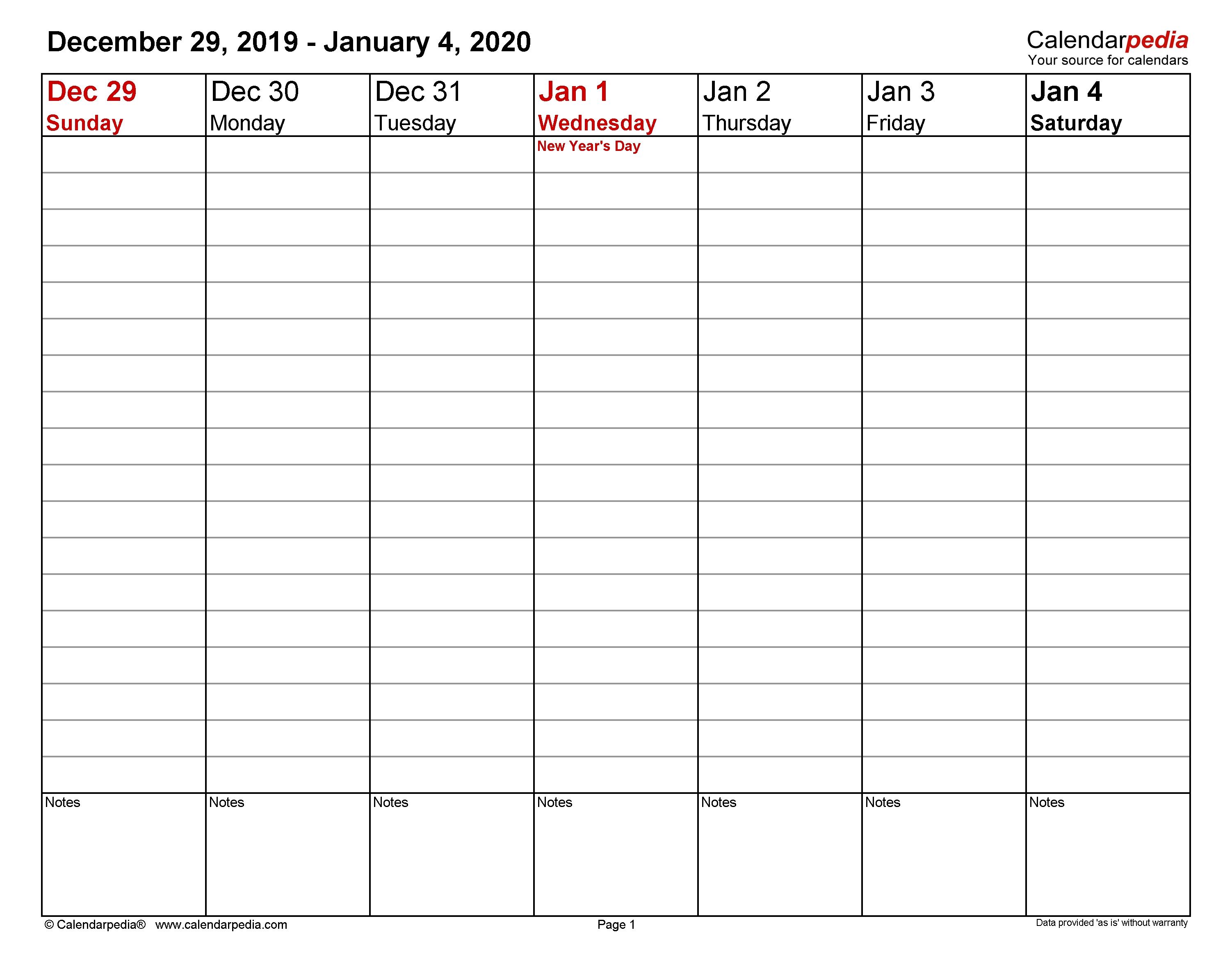 Weekly Calendars 2020 For Word - 12 Free Printable Templates for Free Printable One Week Calendar 2020