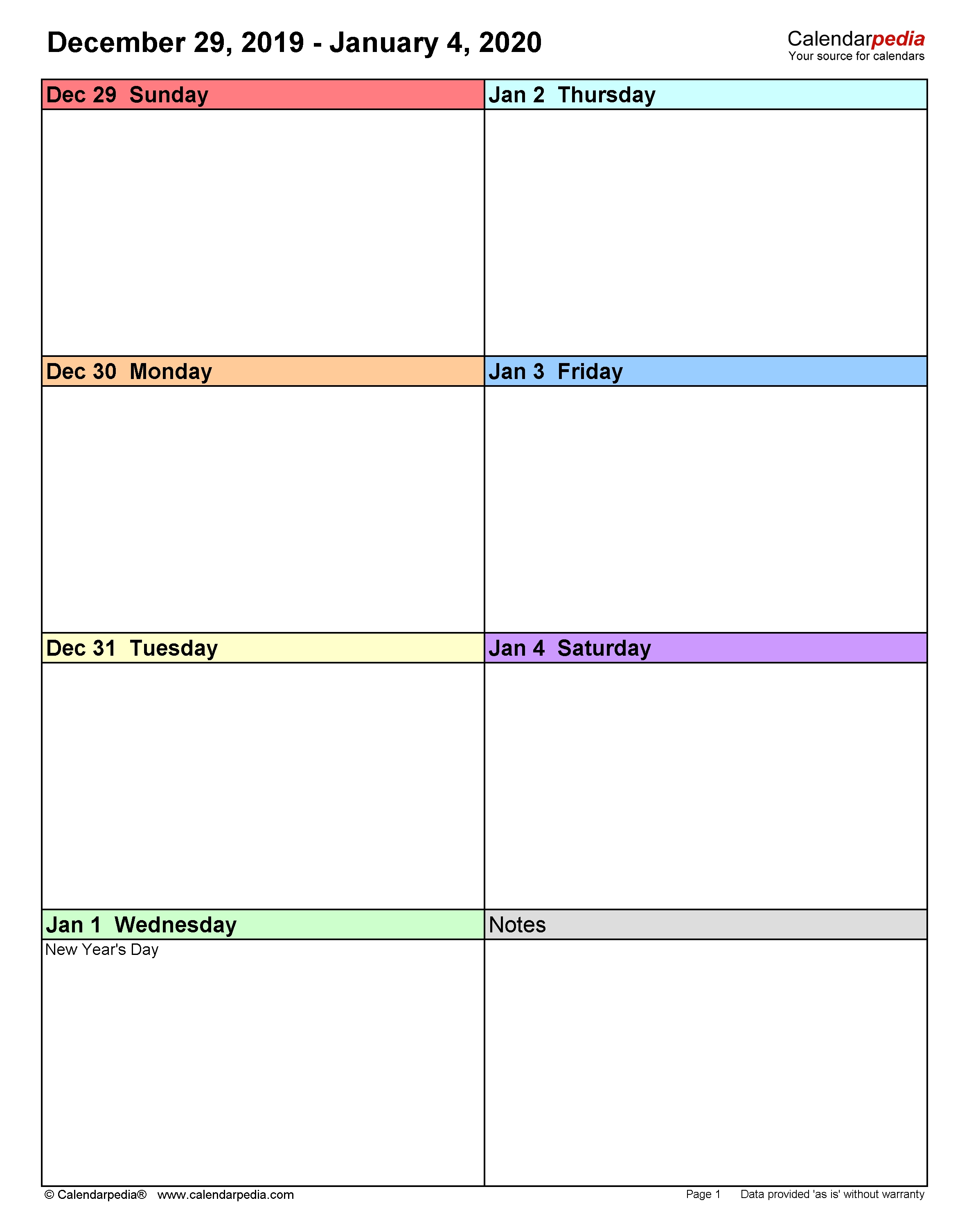 Weekly Calendars 2020 For Word - 12 Free Printable Templates in 1 Week Blank Calendar Free Printable