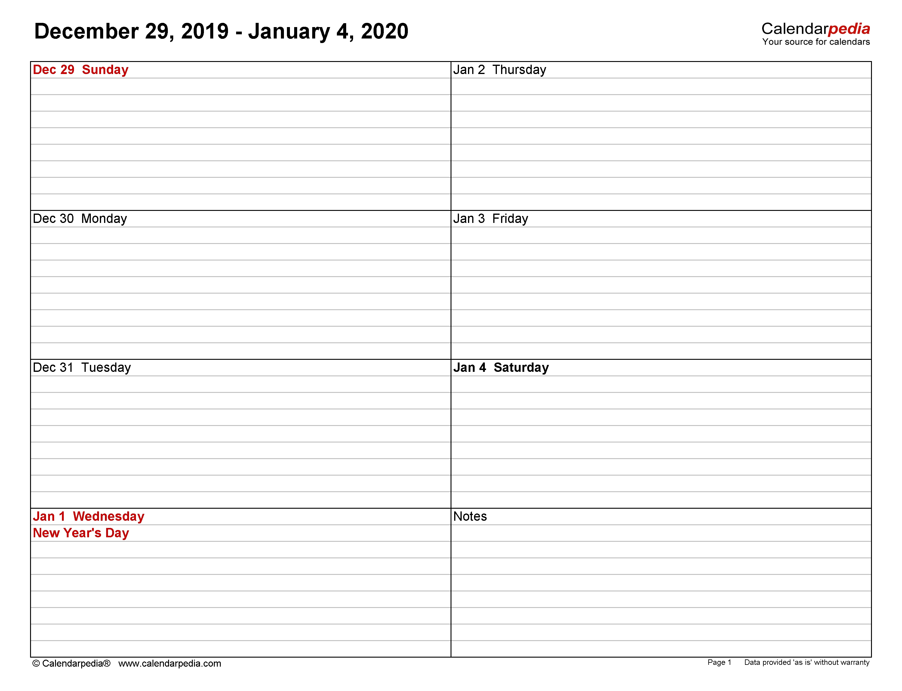 Weekly Calendars 2020 For Word - 12 Free Printable Templates inside Free Printable One Week Calendar 2020