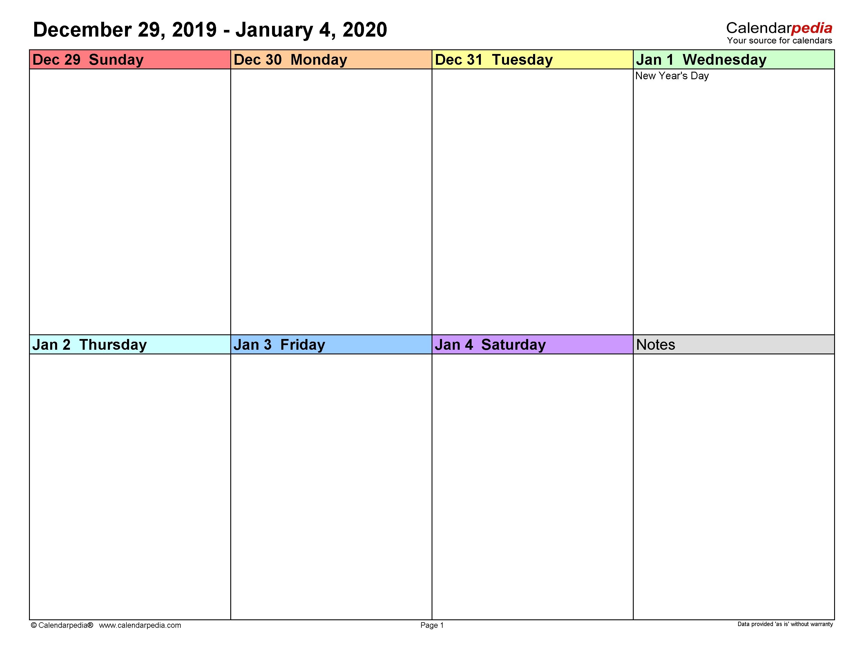 Weekly Calendars 2020 For Word - 12 Free Printable Templates pertaining to 1 Week Blank Calendar Free Printable