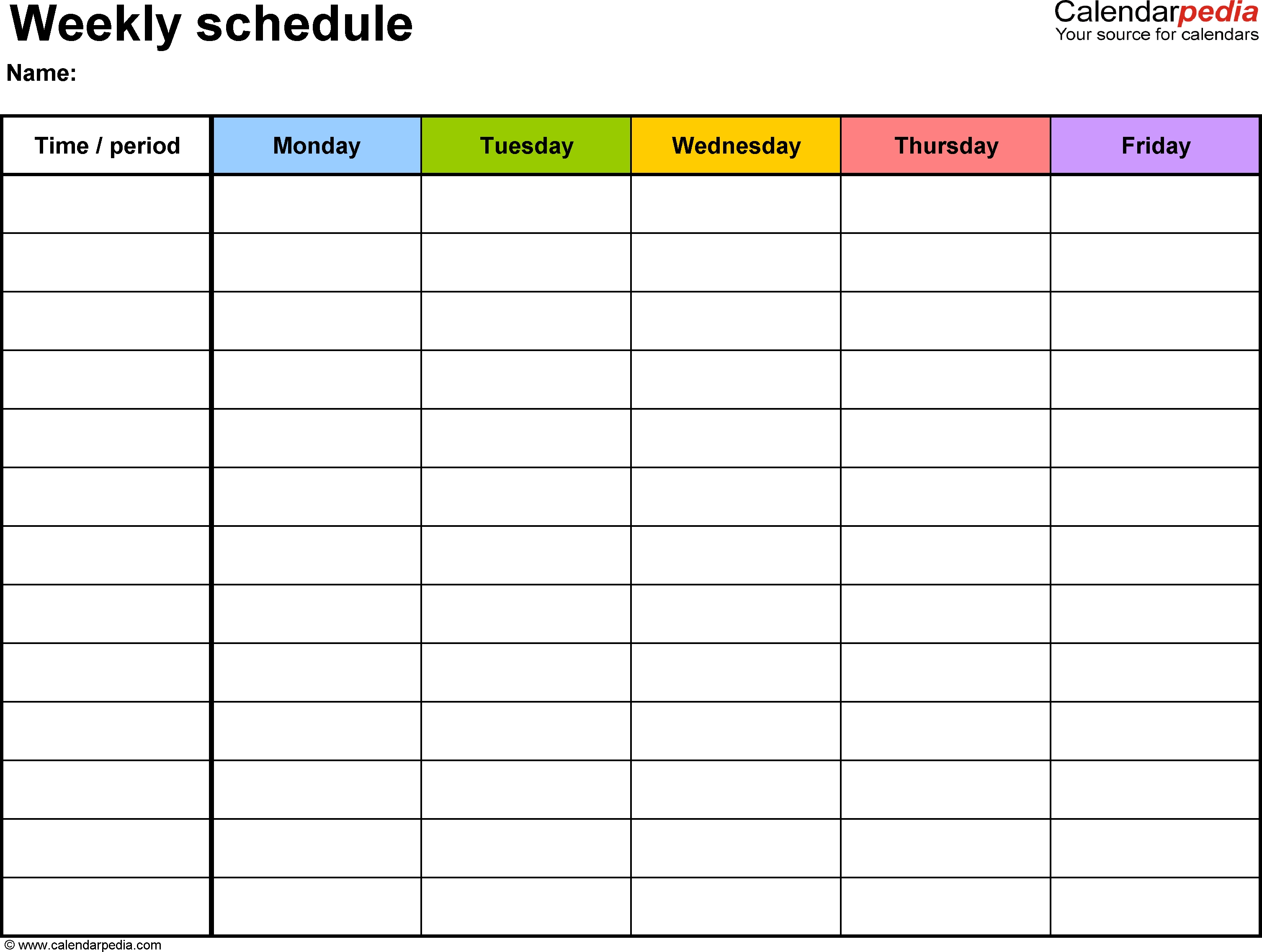 Weekly Schedule Template For Pdf Version 1: Landscape, 1 in 1 Week Blank Calendar Free Printable