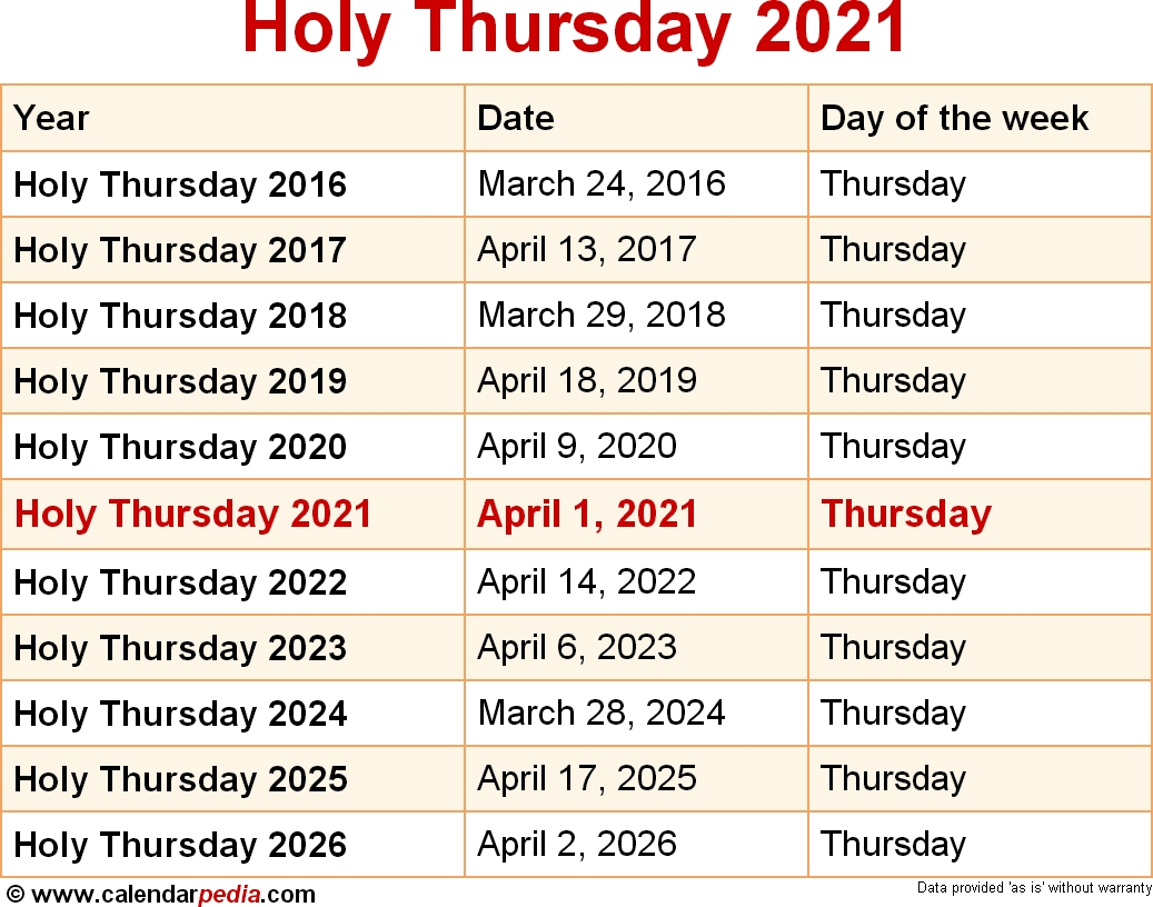 When Is Holy Thursday 2021? for 2020 Liturgical Calendar Holy Week