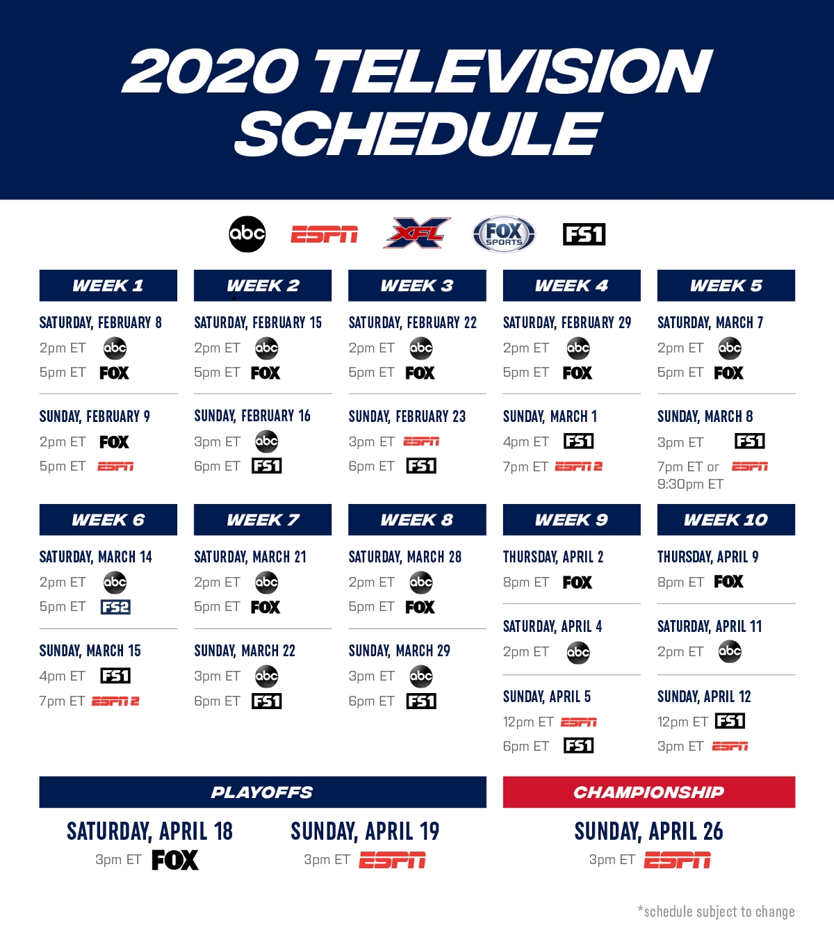 Xfl 2020 Television Schedule Review inside Printable Nfl Schedule 2019 2020