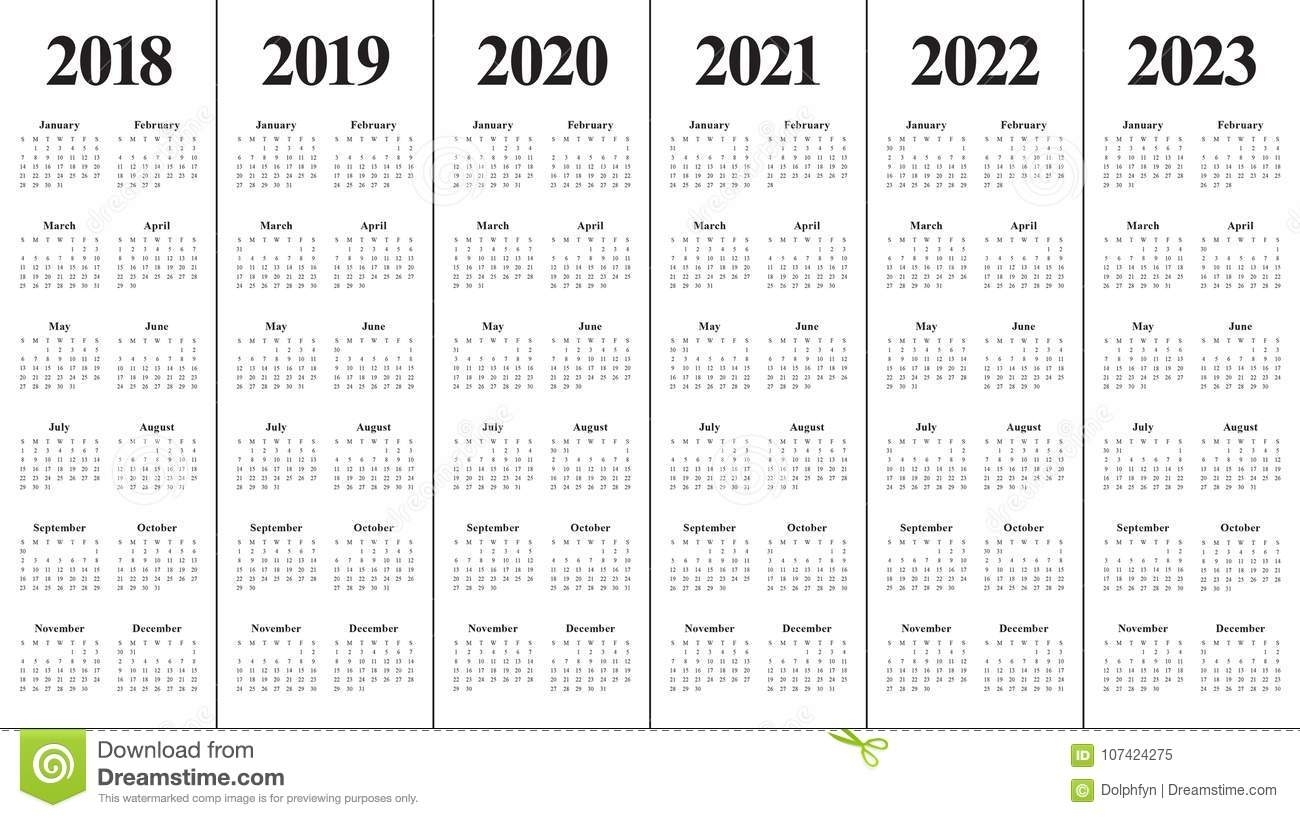 Year 2018 2019 2020 2021 2022 2023 Calendar Vector Stock in 2020 2021 2022 2023 Calendar