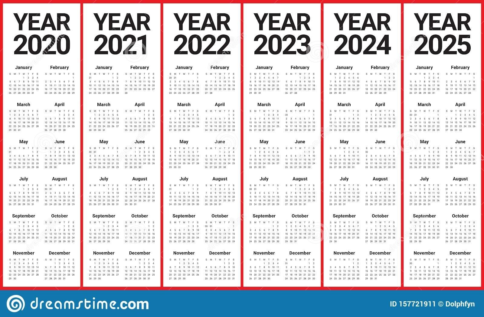 Year 2020 2021 2022 2023 2024 2025 Calendar Vector Design inside 2020 2021 2022 2023 Calendar Printable One Page