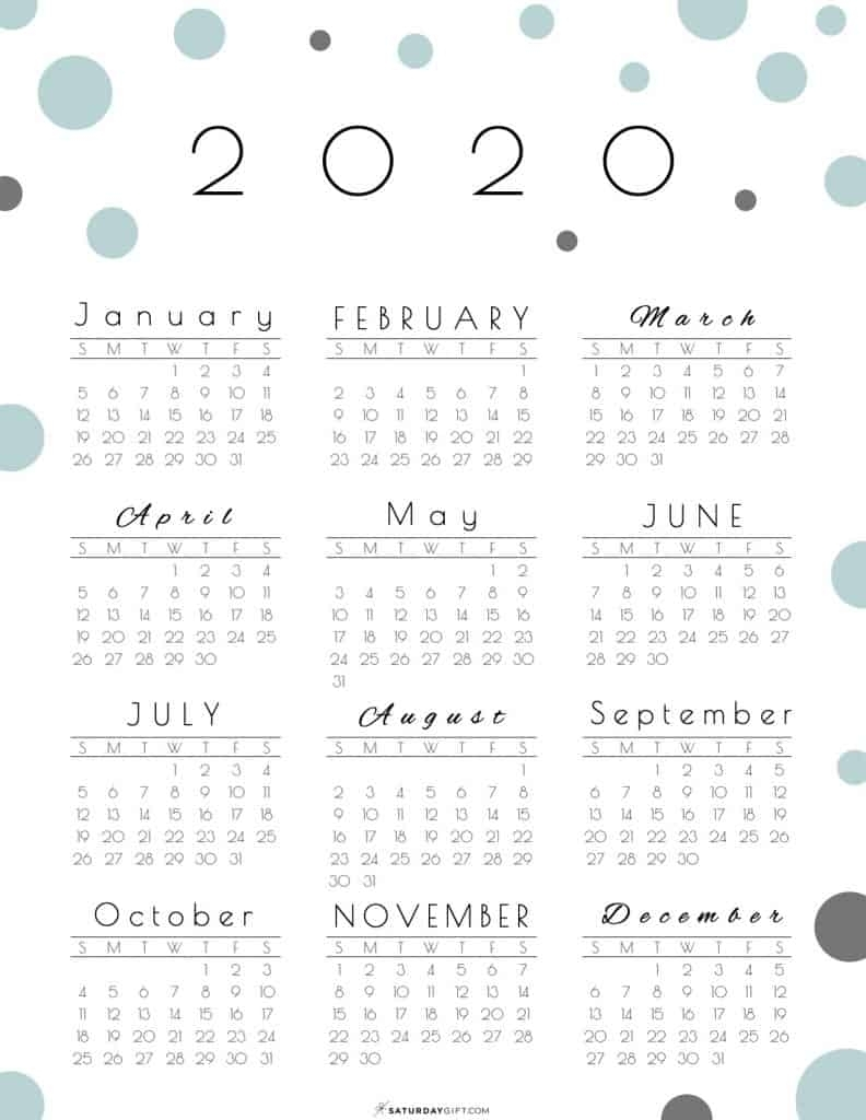 Year At A Glance Calendar 2020 - Pretty (And Free!) Printable throughout 2020 Calendar Year To A Page