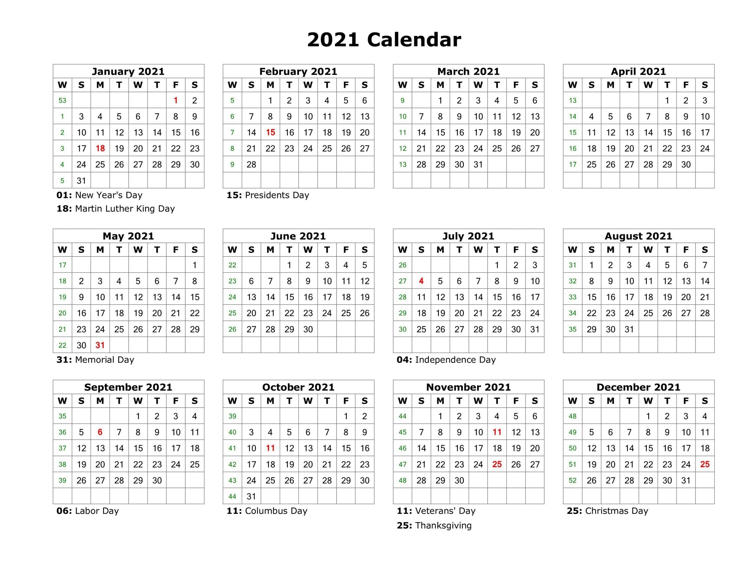 Year At A Glance Calendar 2021 Printable Free For with regard to At A Glance 2020 Calendar Year Free Printable