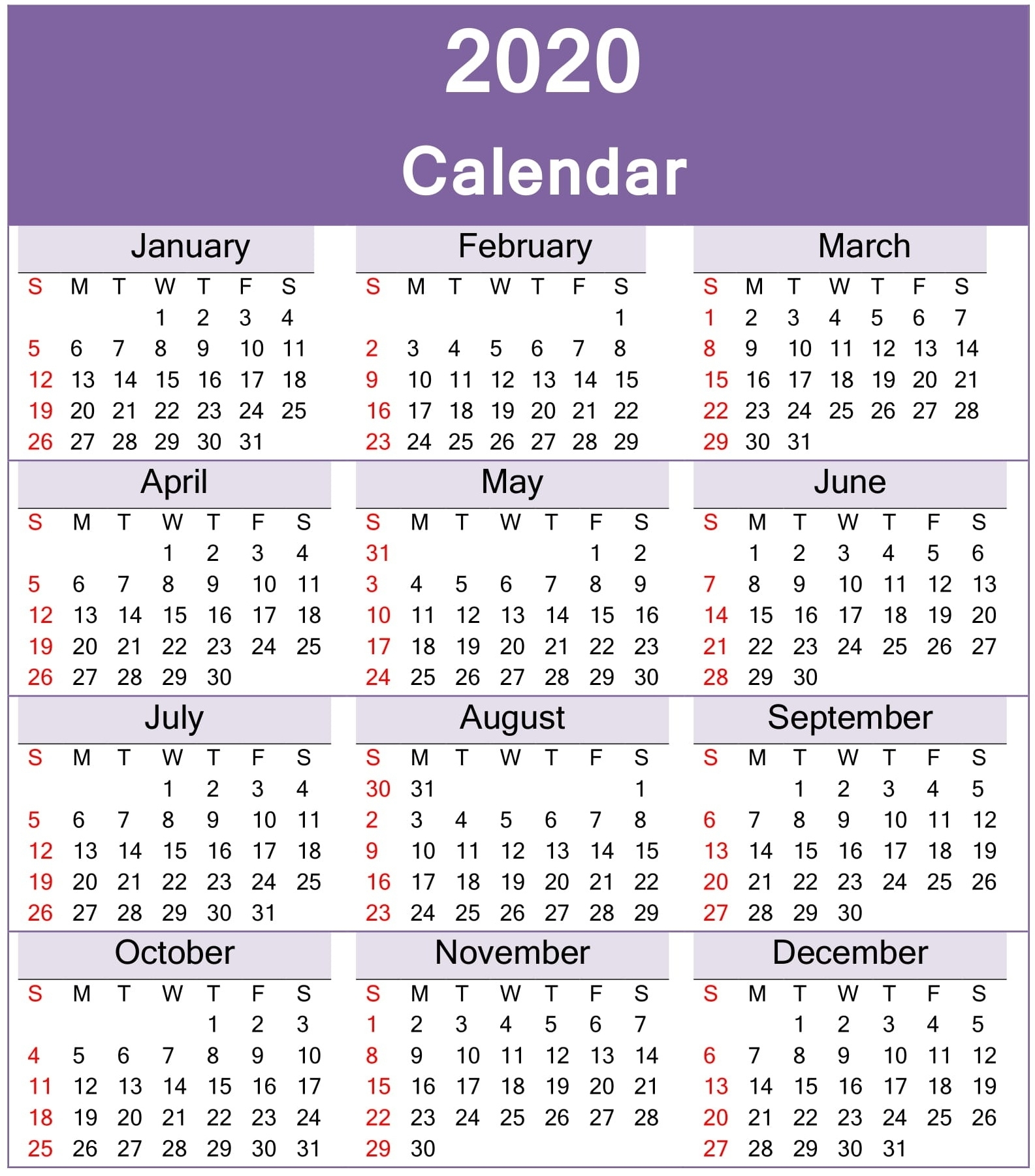 Yearly 2020 Calendar Printable Template Download within 2020 Calendar Year To A Page