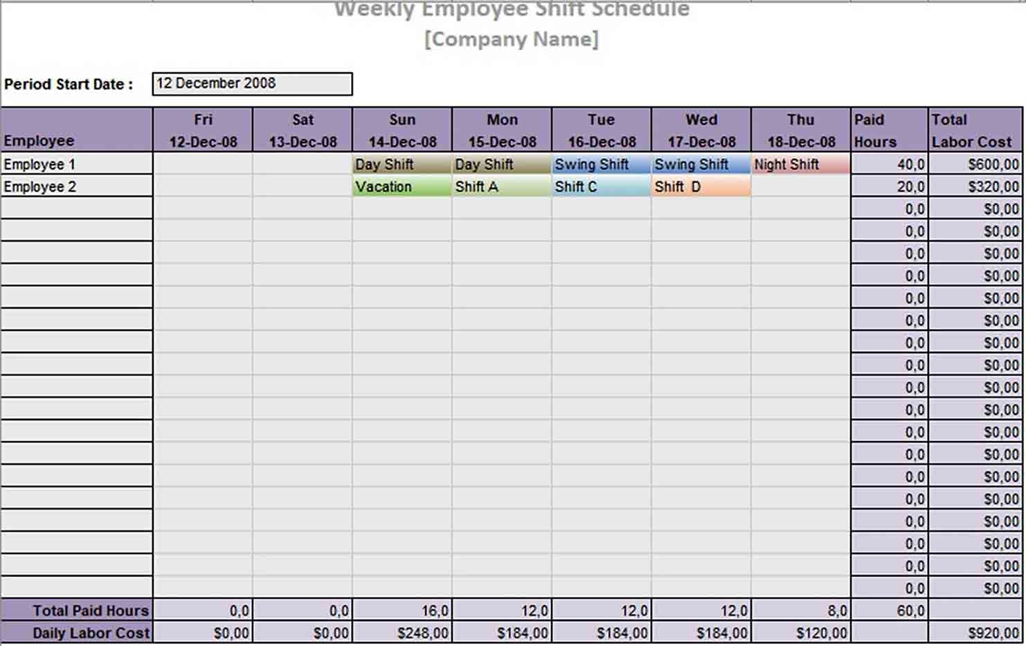 10 Hour Shift Schedule Template | Think Moldova