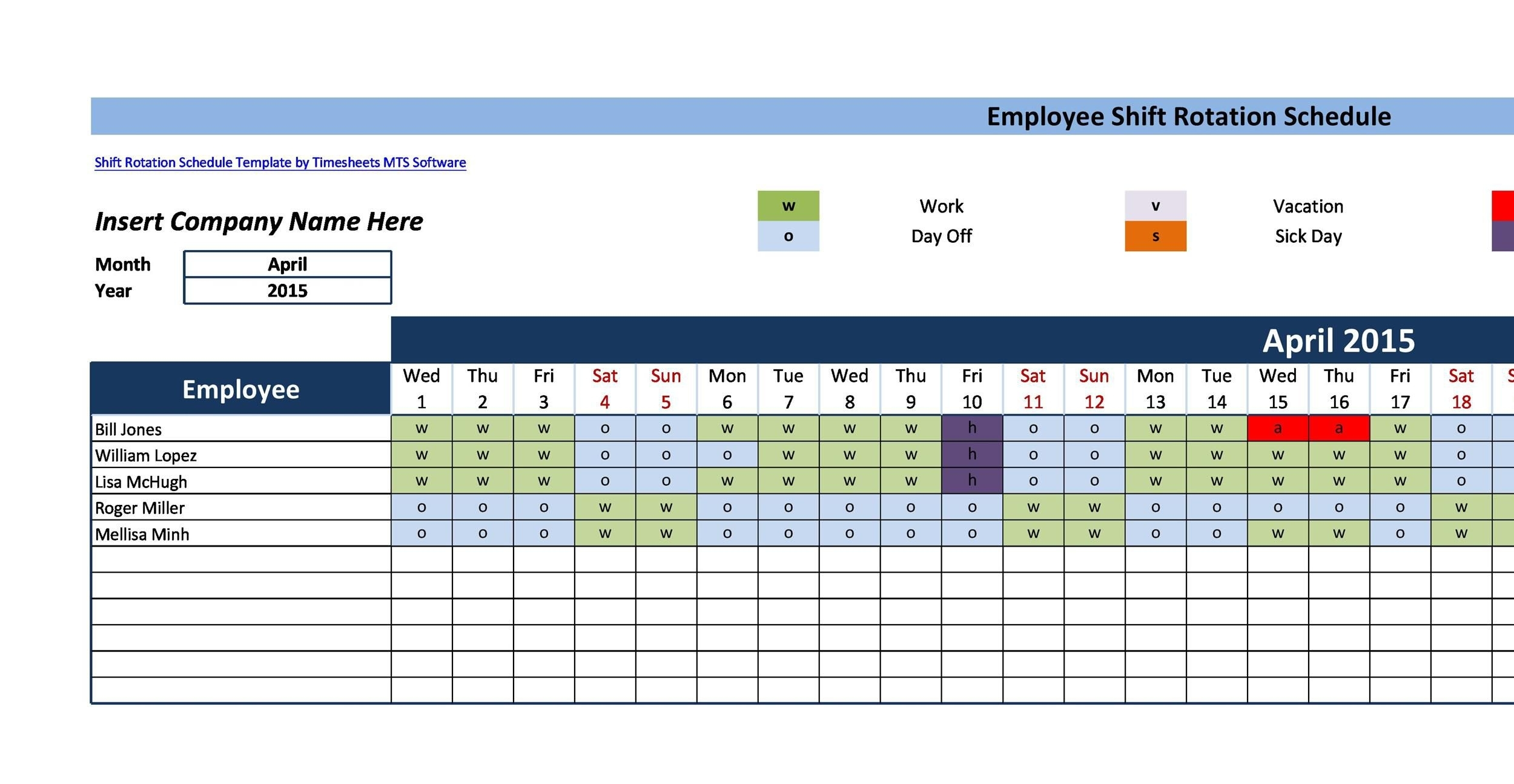 12 Hour Shift Schedule Template ~ Addictionary