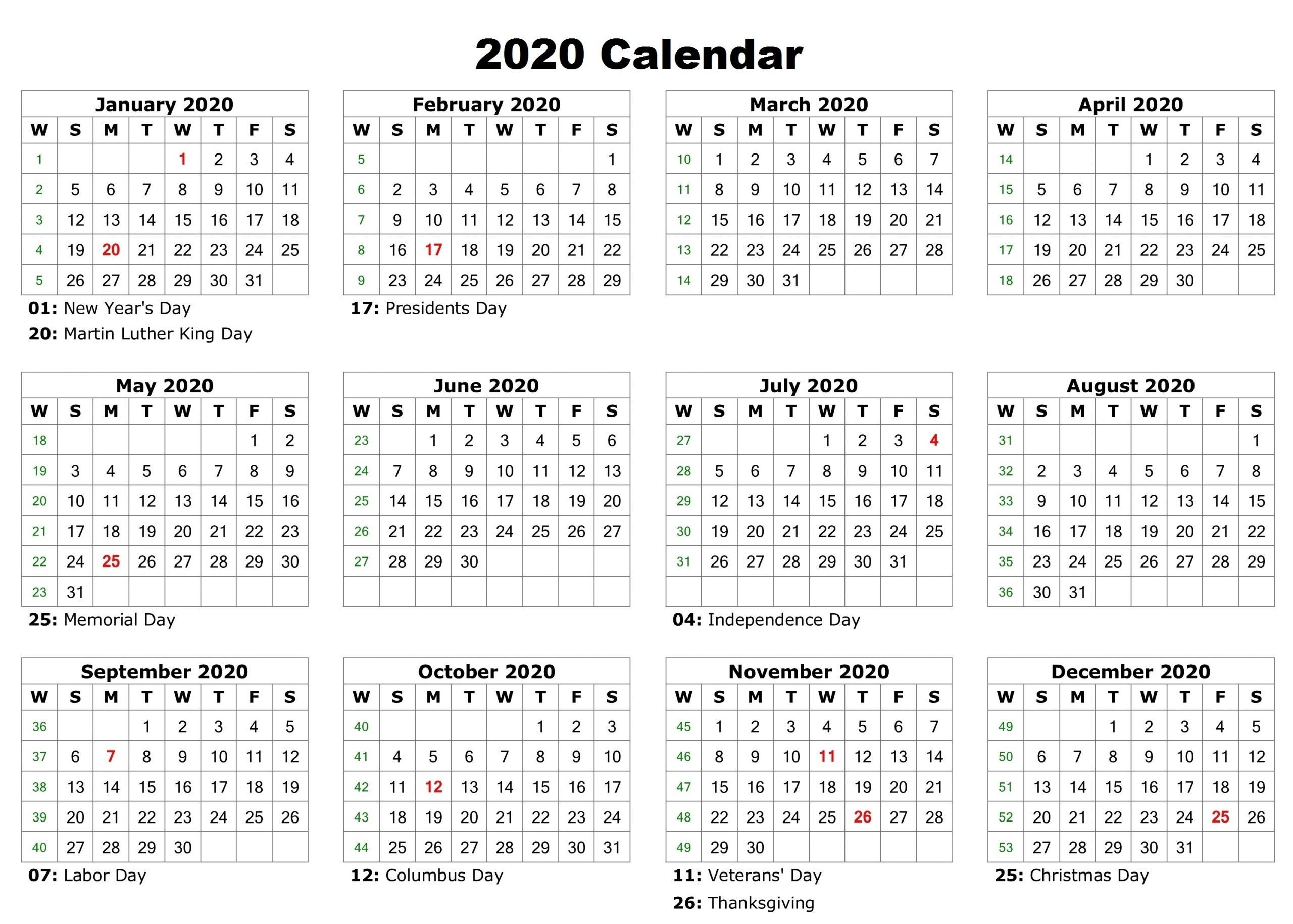 12 Month 2020 Calendar – Printable One Page Yearly Template inside 2020 12 Month Calendar Printable