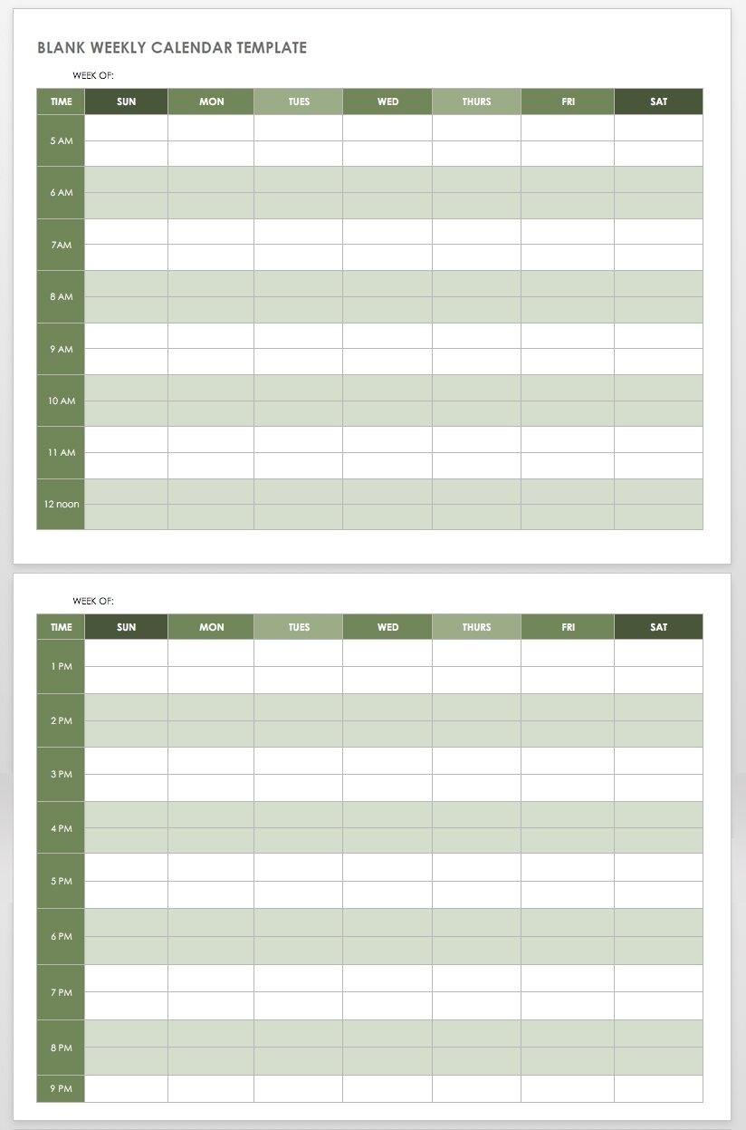 15 Free Weekly Calendar Templates | Smartsheet in 5 Days Event Calendar Template