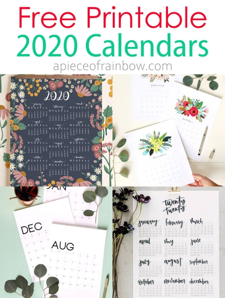 18 Stylish Free Printable 2020 Calendars & Planners - A inside Printable Coloring 2020 Monthly Calendar