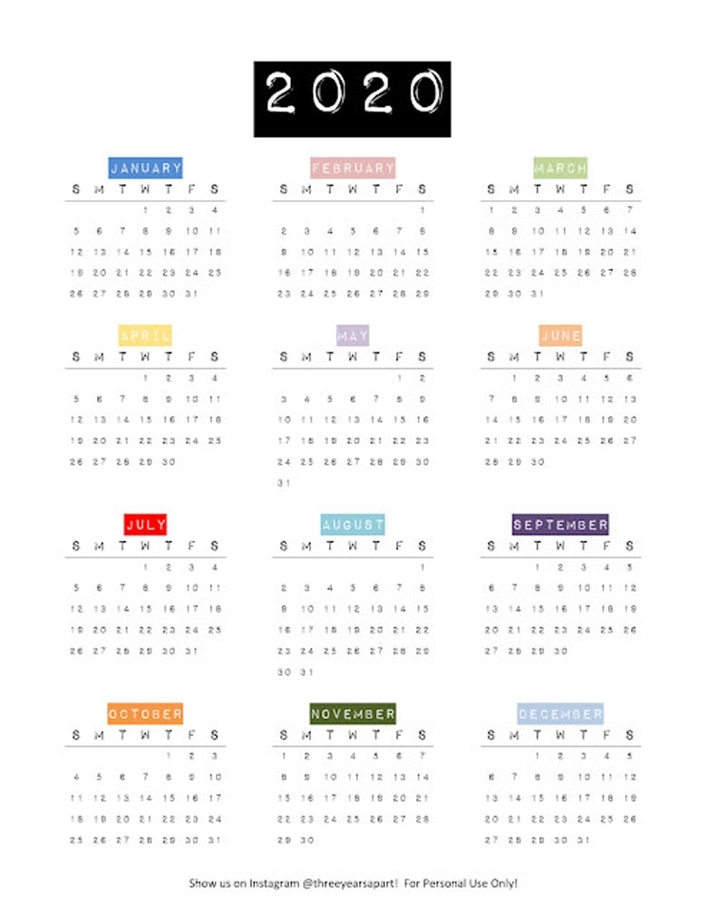 18 Stylish Free Printable 2020 Calendars & Planners - A with regard to 2020 Printable Yearly Colouring Calendar