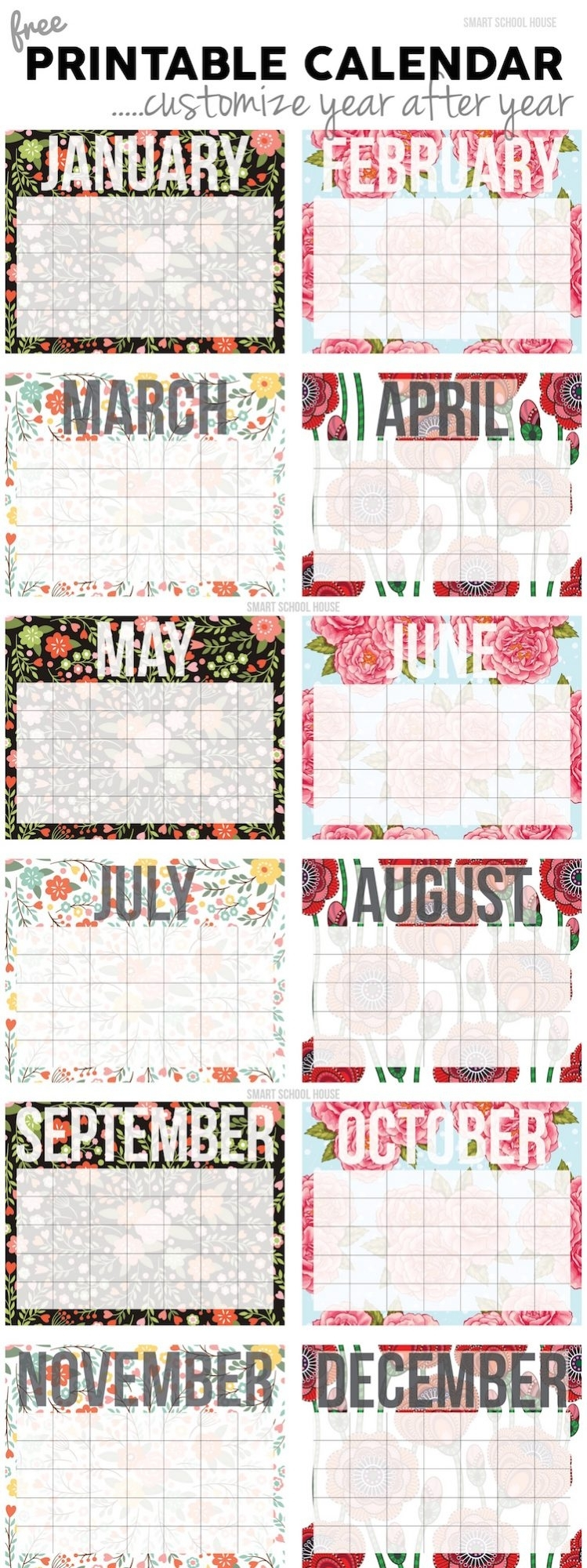 20 Free Printable Calendars For 2020 - Yesmissy with Undated Free Monthly Calendar Printable Free