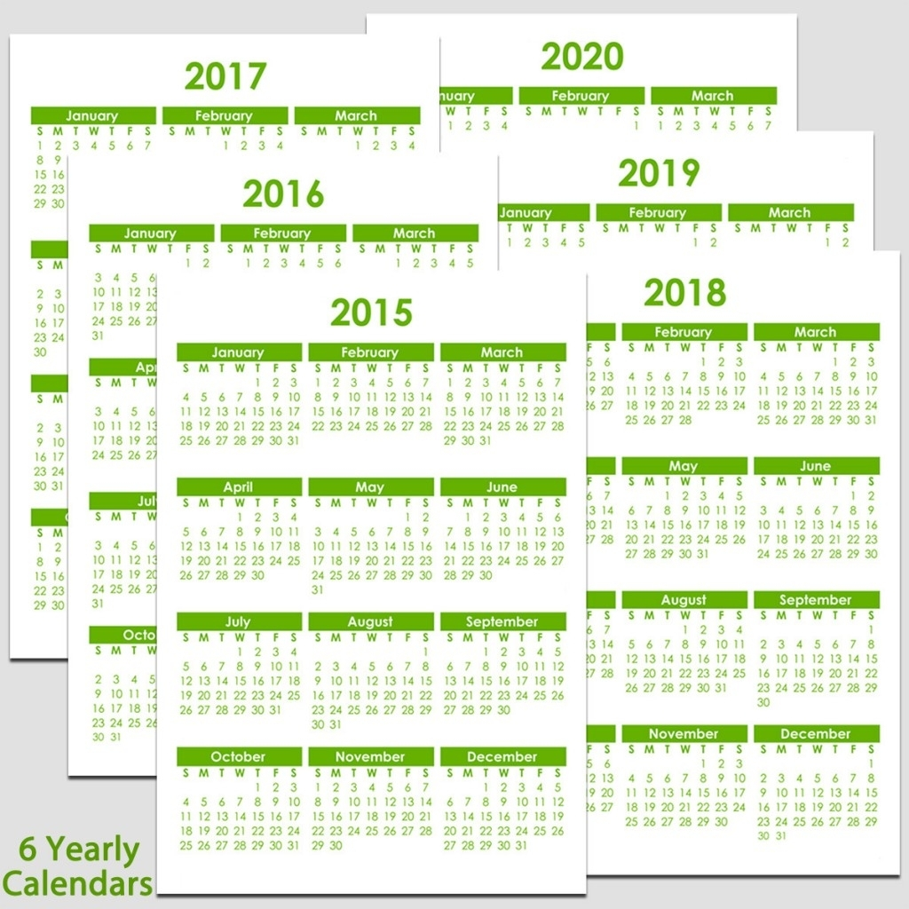 "2015 & 2020 Yearly Calendar - 5 1/2"" X 8 1/2"" | Legacy Templates inside 8.5 X 11 Printable 2020 Calendar"