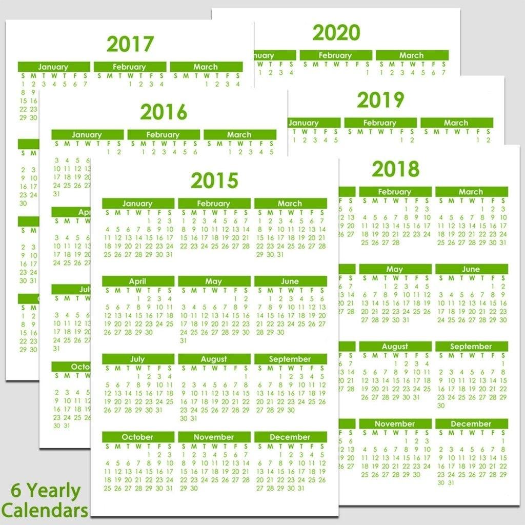 2015 To 2020 Yearly Calendar – 8 1/2″ X 11″   Calendar intended for 8 X 10 Calendar 2020
