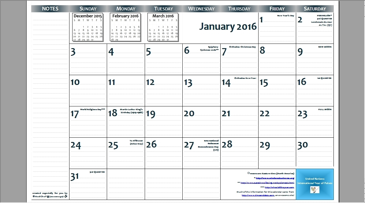 2016 11×17 Free Printable Page-Per-Month Wall Calendar With regarding Free Printable 11X17 Monthly Calendar