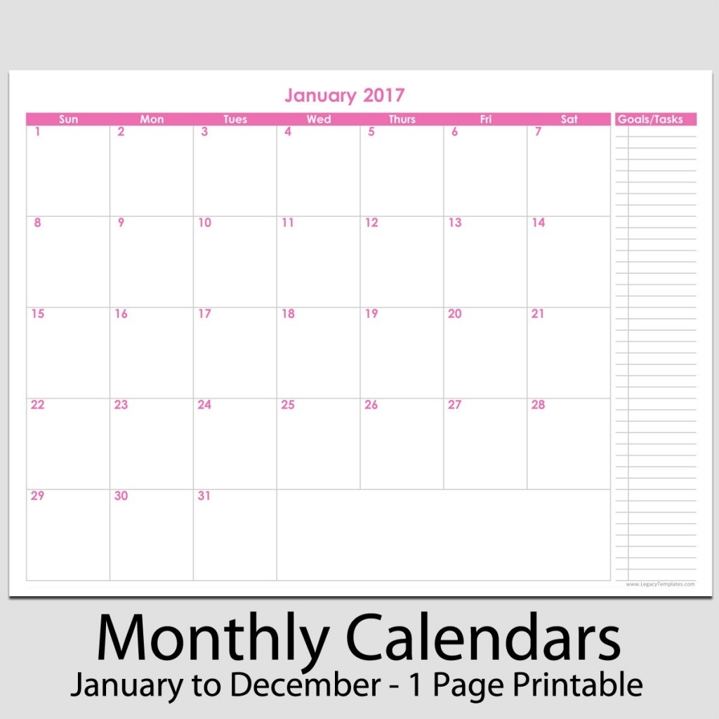 """2017 - 12 Month Calendar With Tasks - 8 1/2"""" X 11"""" 
