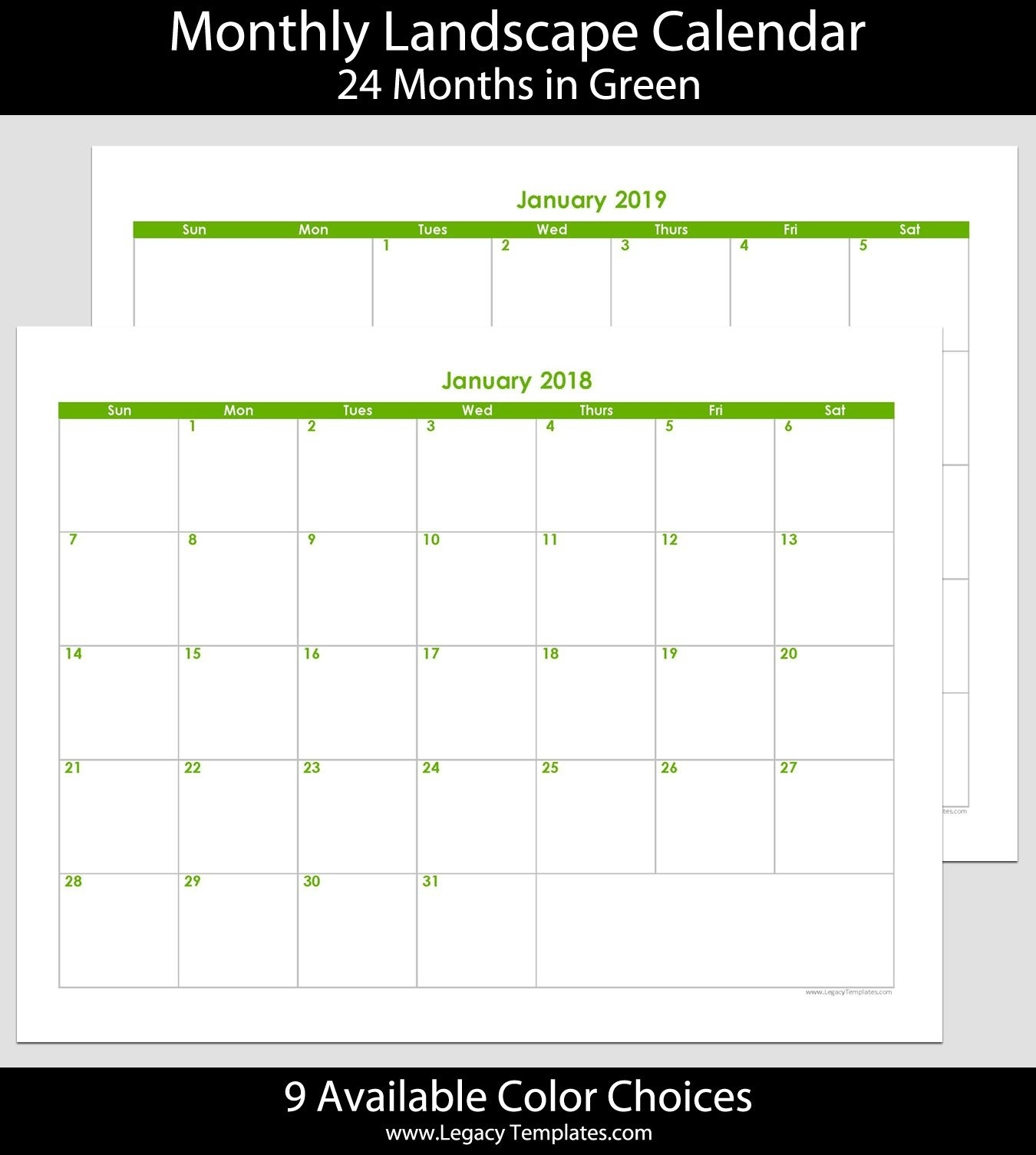 2018 & 2019 24-Month Landscape Calendar. Printable Calendars