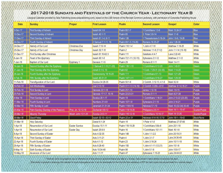 2018 Liturgical Calendar (Year B 2017-2018) K-2018 | Sola within How Many Days In Liturgical Calendar Compared To Regular Calendar