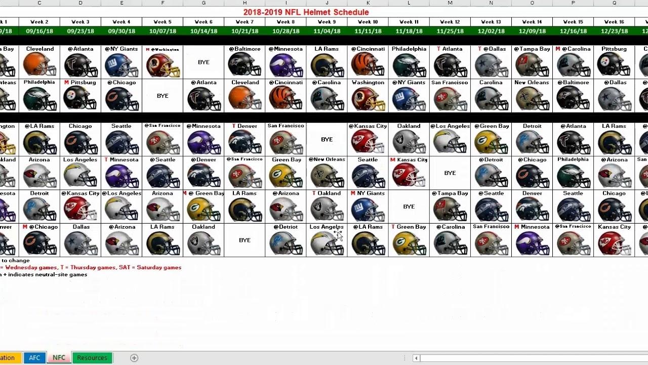 2018 Nfl Helmet Schedule Excel Spreadsheet in Nfl Schedule 2019 2020 Excel