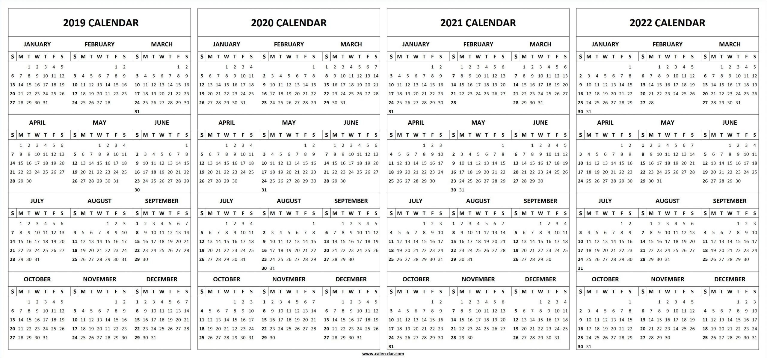 2019 2020 2021 2022 Calendar Blank Template | Calendar pertaining to Printable Calendar 2020 2021 2022