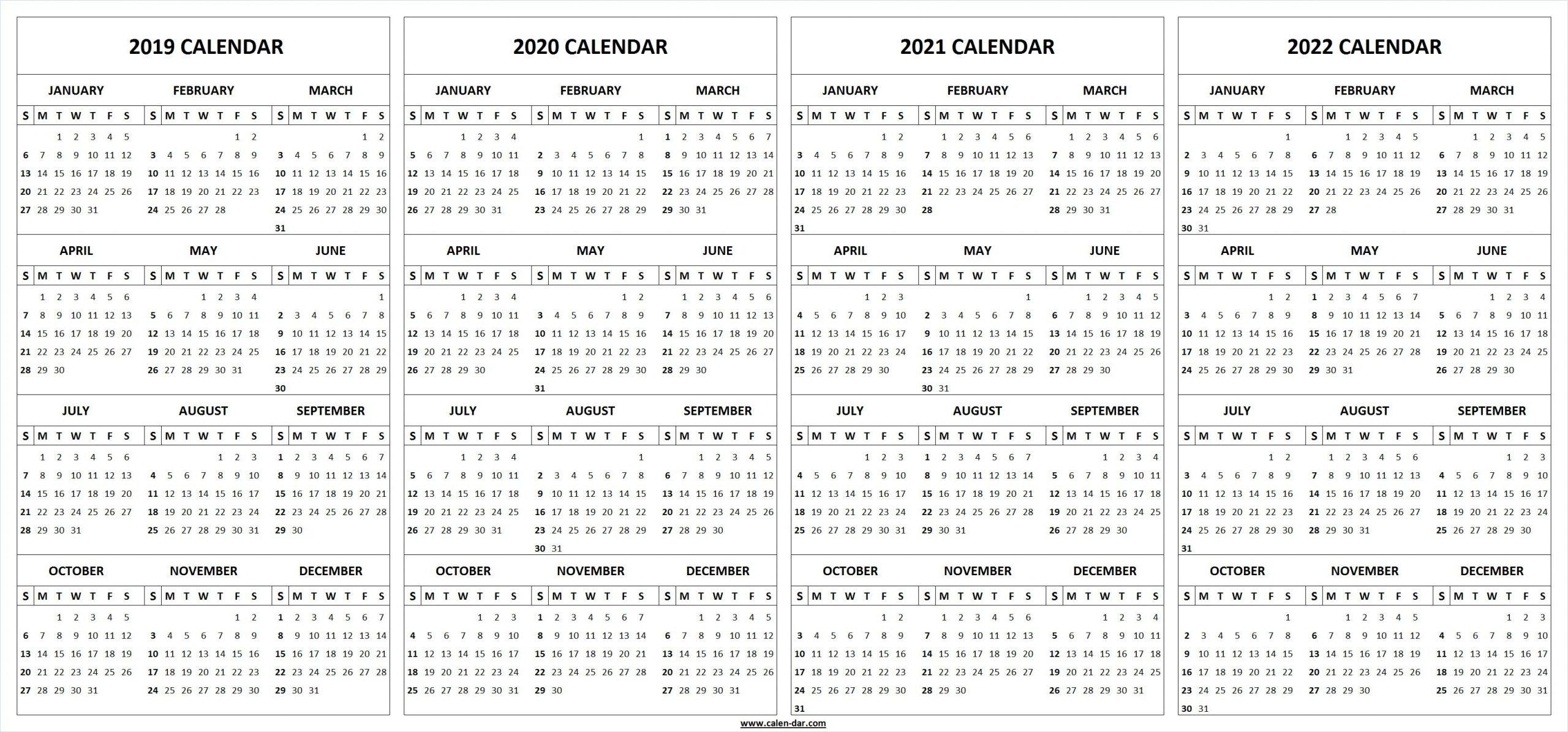 2019 2020 2021 2022 Calendar Blank Template | Calendar regarding 2020 2021 2022 Calendar Printable