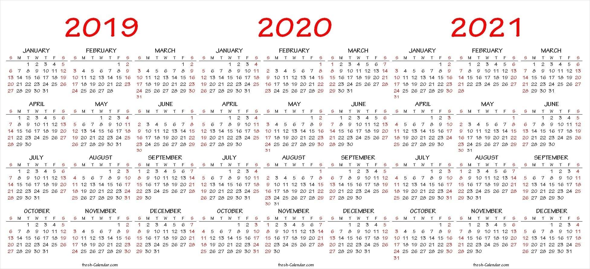 2019 2020 2021 Calendar Pdf Template   Calendar Printables in 3 Year Calendar 2019 2020 2021 Printable