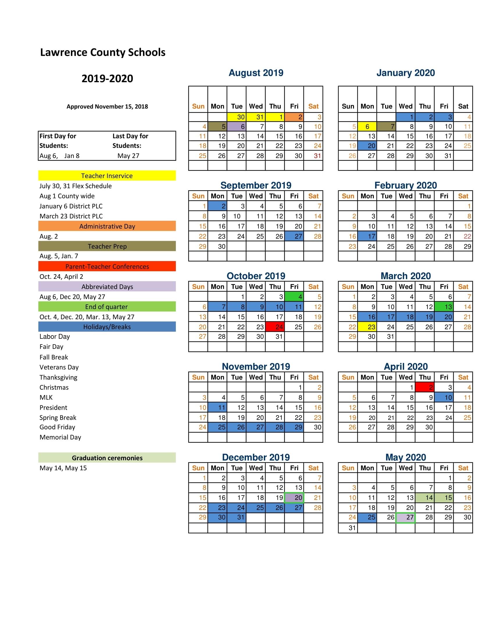 2019-2020 Lawrence County School Calendar Announced with regard to Uc Berkeley School Calendar 2019 2020
