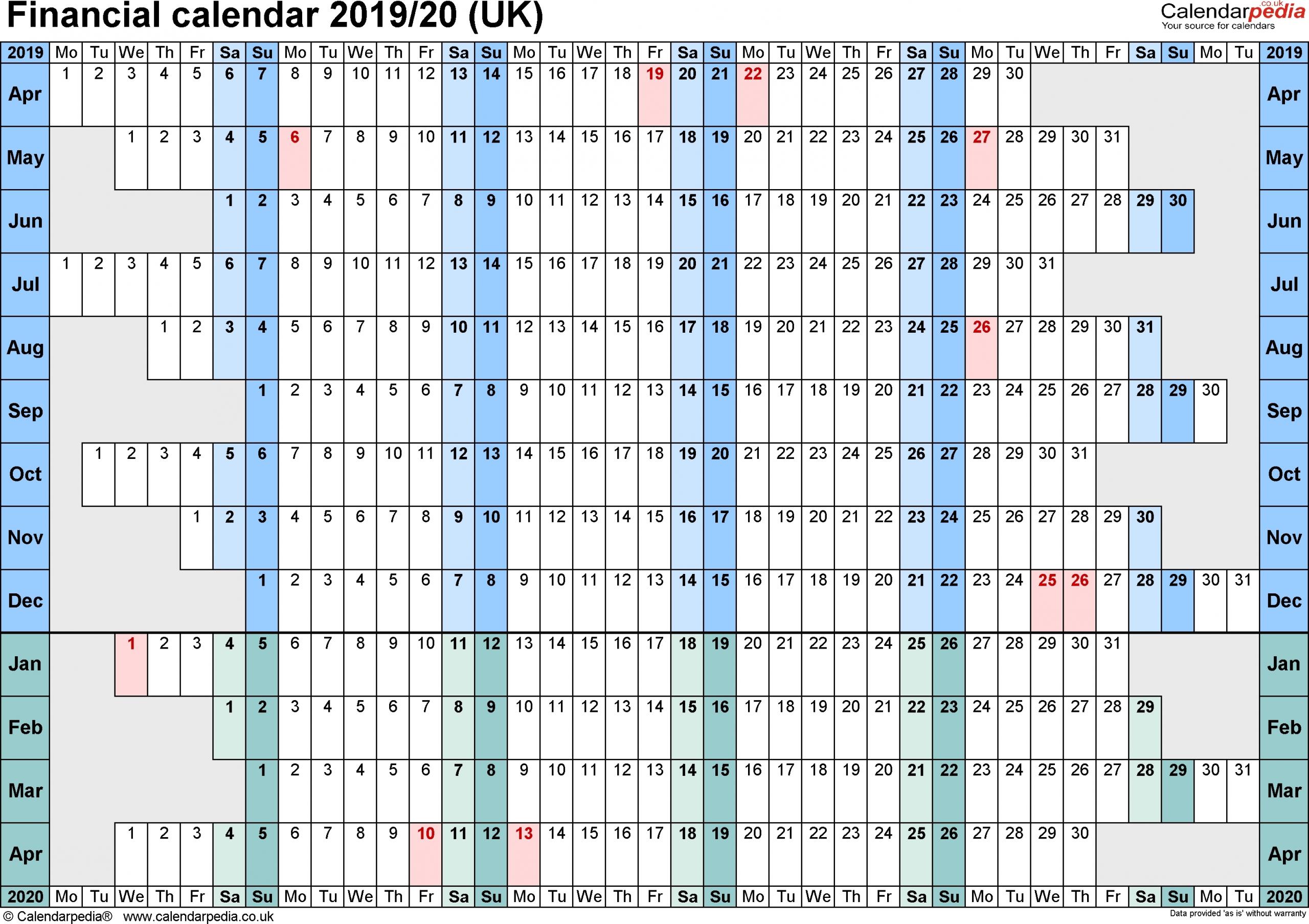 2019-2020Tax Calendar Month And Week - Calendar Inspiration intended for Financial Week To Calendar 2019