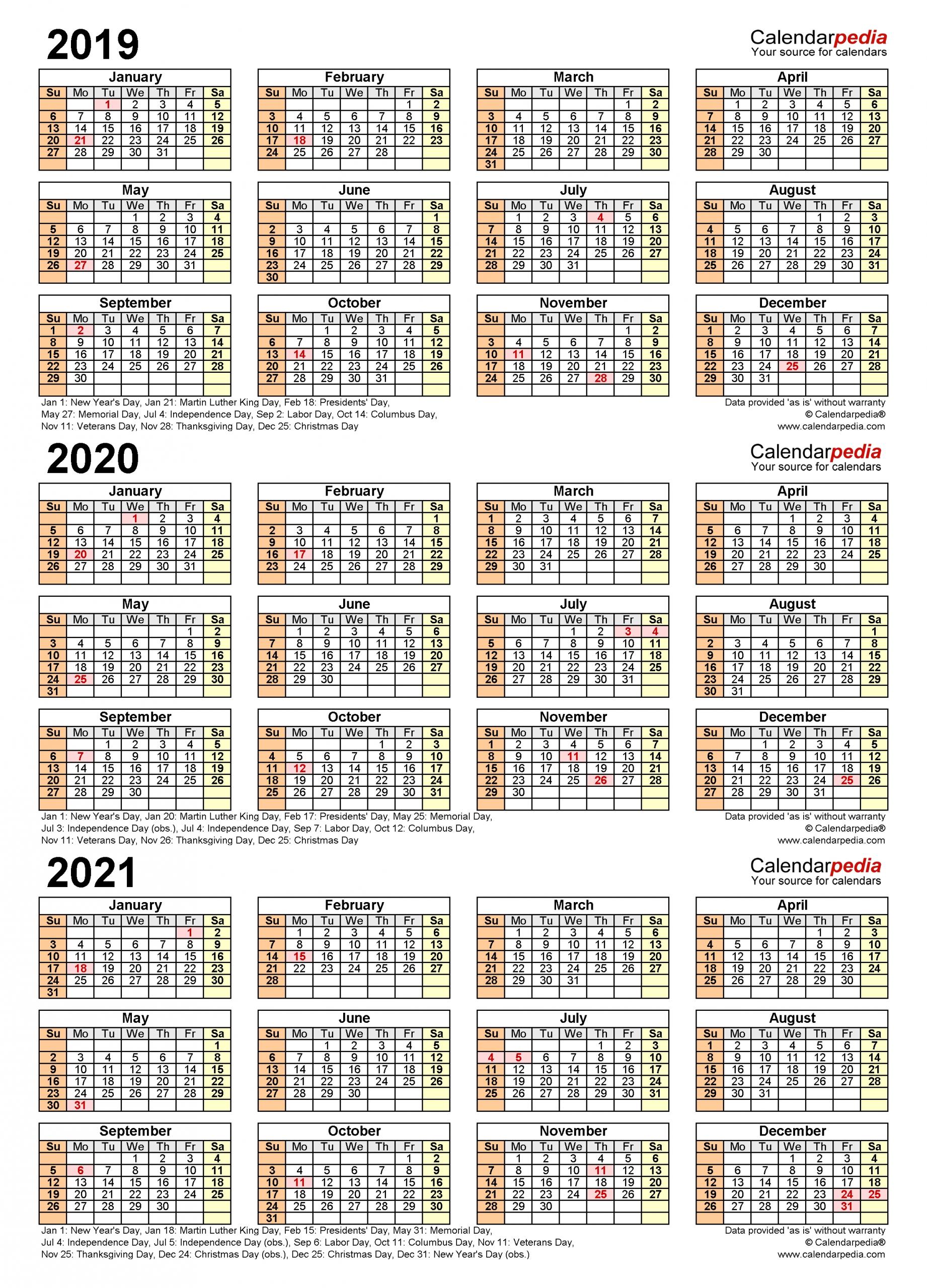 2019-2021 Three Year Calendar - Free Printable Pdf Templates in Fiscal Year Calendar 2020 Printable Bangla