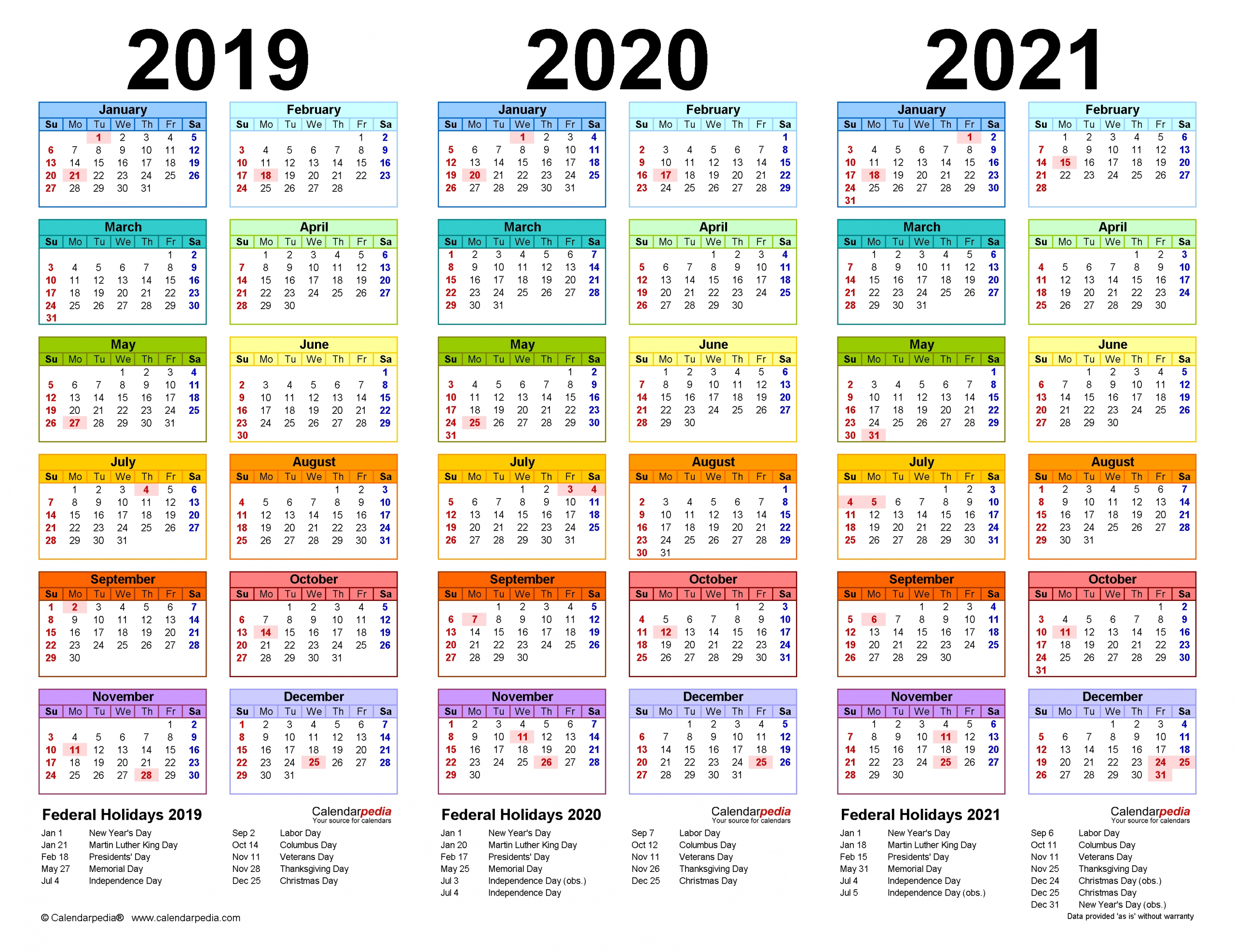 2019-2021 Three Year Calendar - Free Printable Pdf Templates inside 3 Year Calendar 2019 2020 2021 Printable
