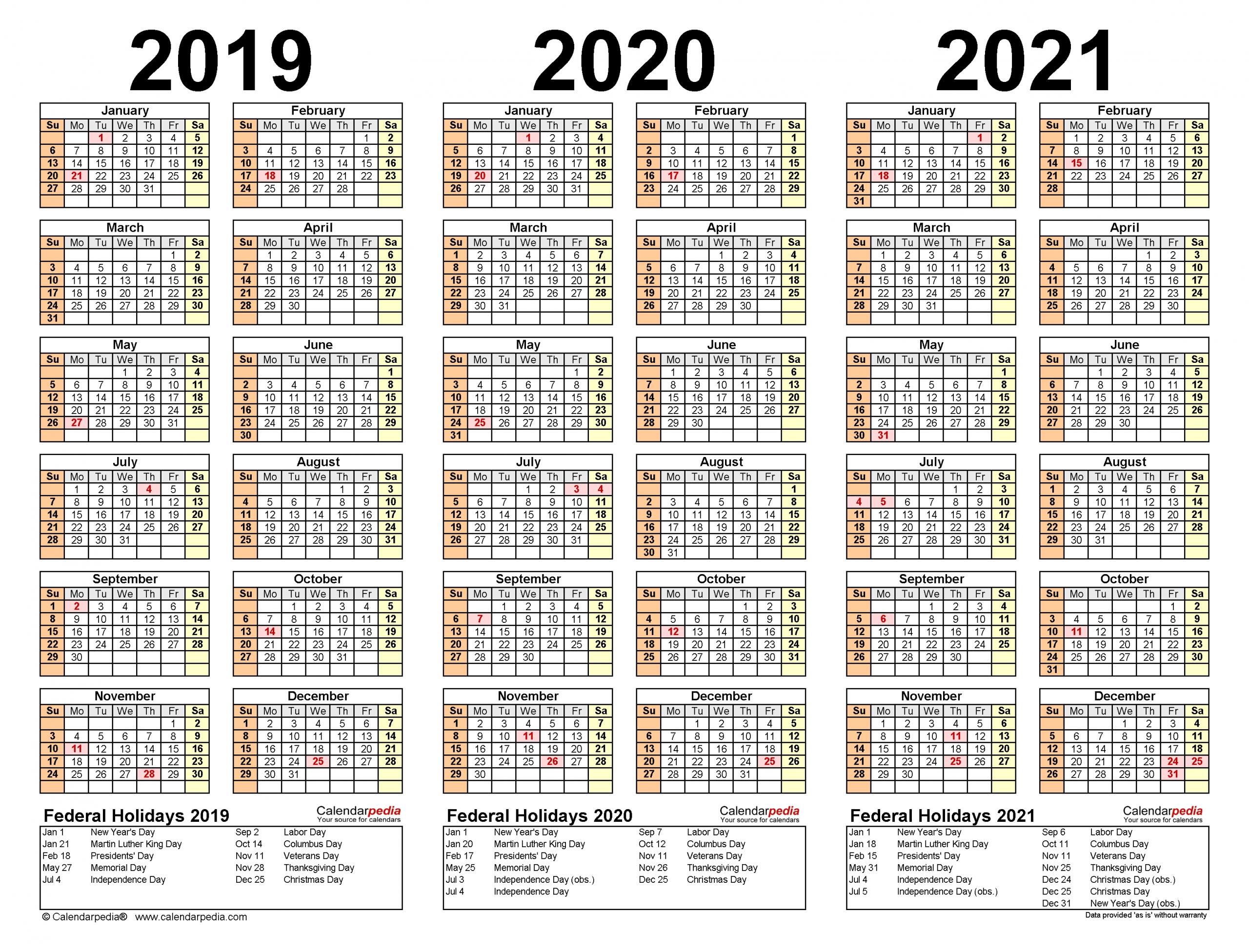 2019-2021 Three Year Calendar - Free Printable Pdf Templates with regard to 3 Year Calendar 2019 2020 2021 Printable