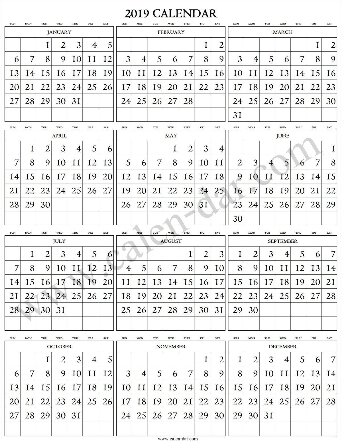 2019 Calendar Large Numbers | Large Printable Numbers