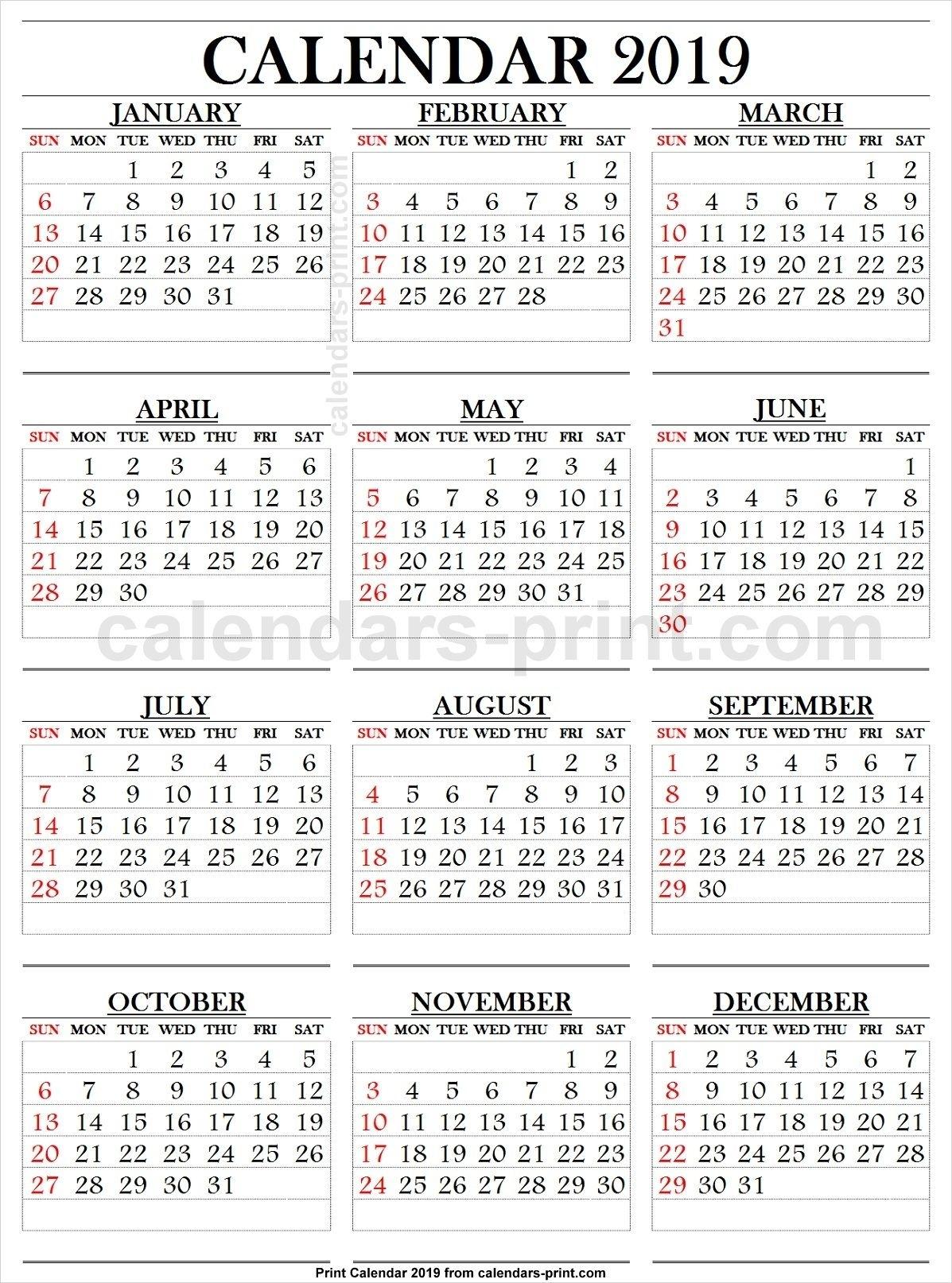 2019 Calendar Large Numbers   Printable Calendar Large
