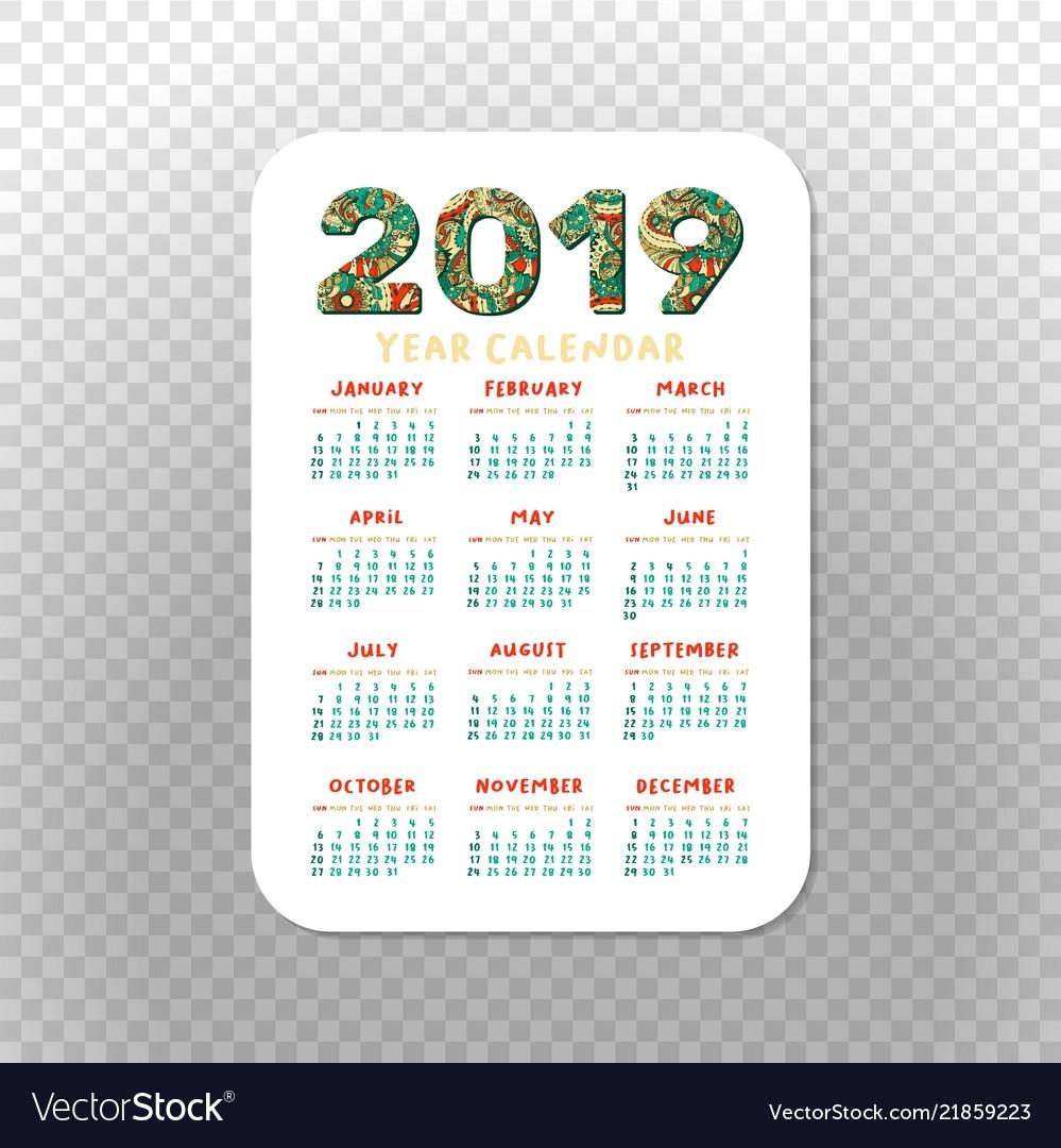 2019 Calendar Template For Pocket Calendar Basic Vector Image