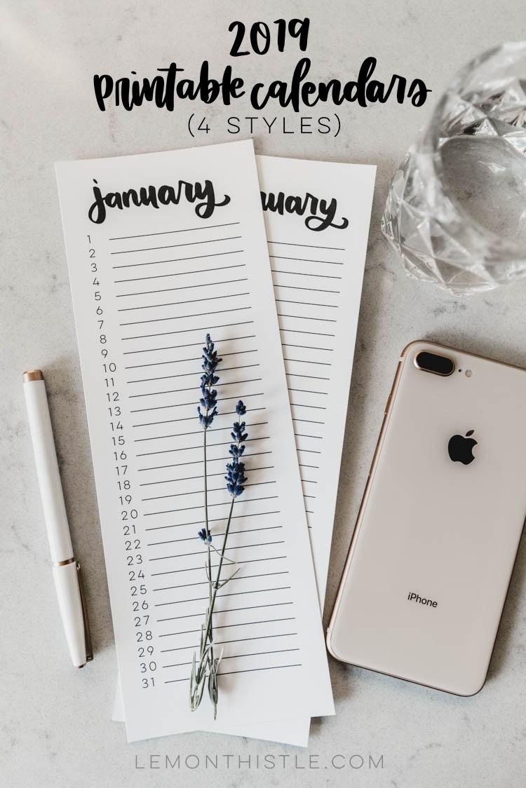 2019 Calendars - Free Printable 4 Styles - Lemon Thistle regarding Free Printable Perpetual Calendar Template