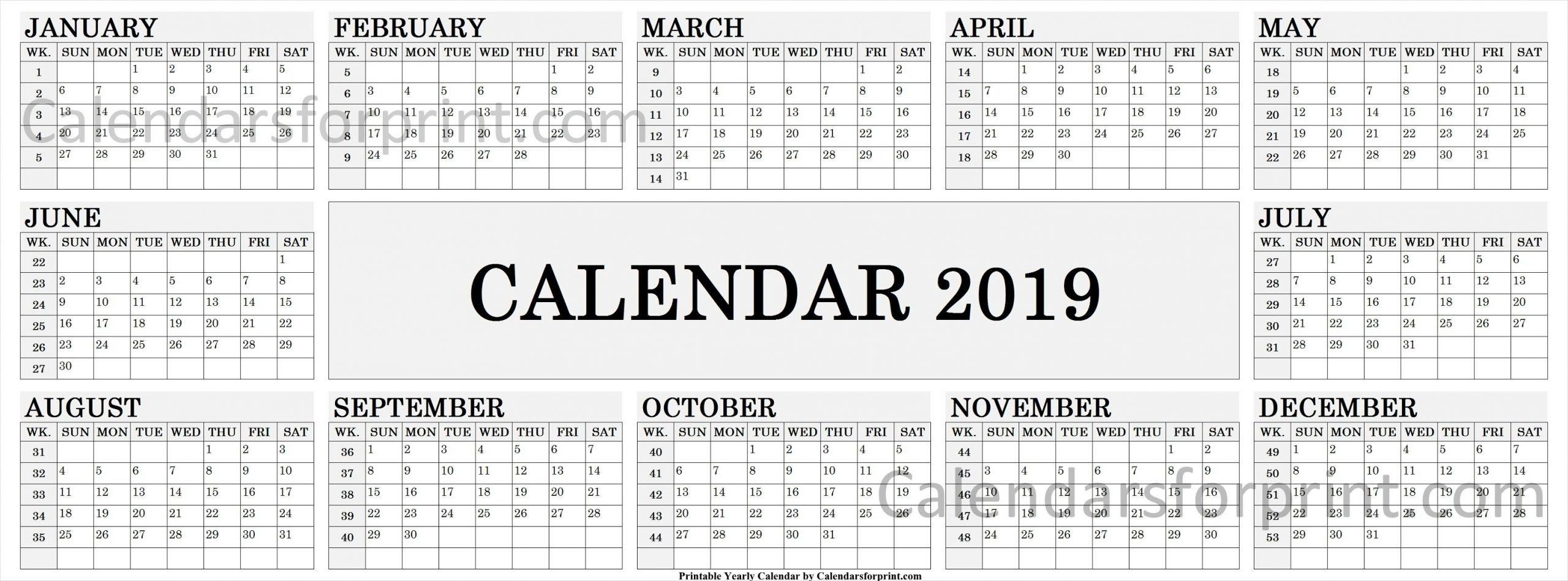 2019 Calendarweek | Weekly Calendar, Calendar With Week