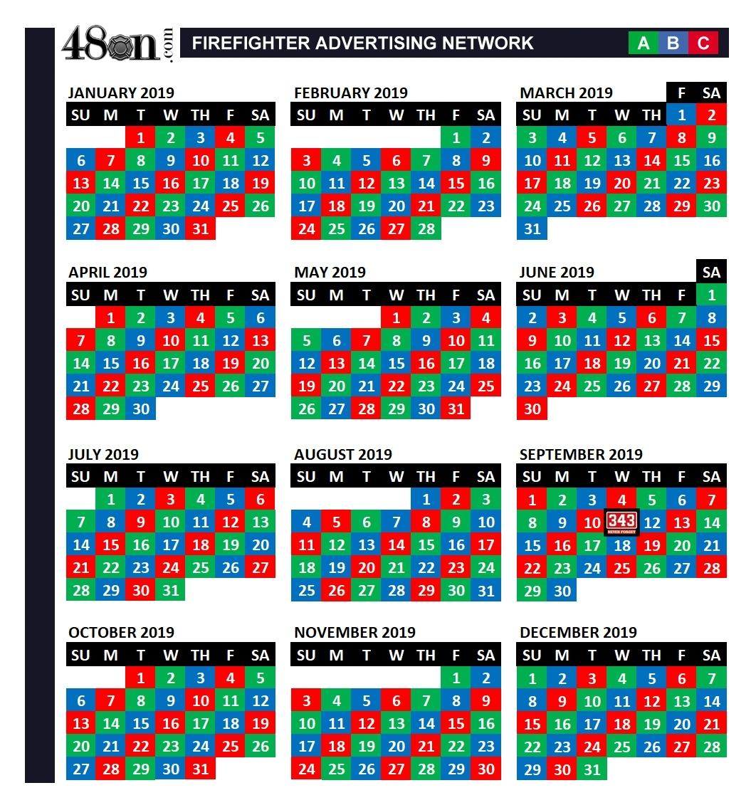 2019 Firefighter Shift Calendar – 48On – 48On for Firefighter 24 48 Shift 2020 Calendar