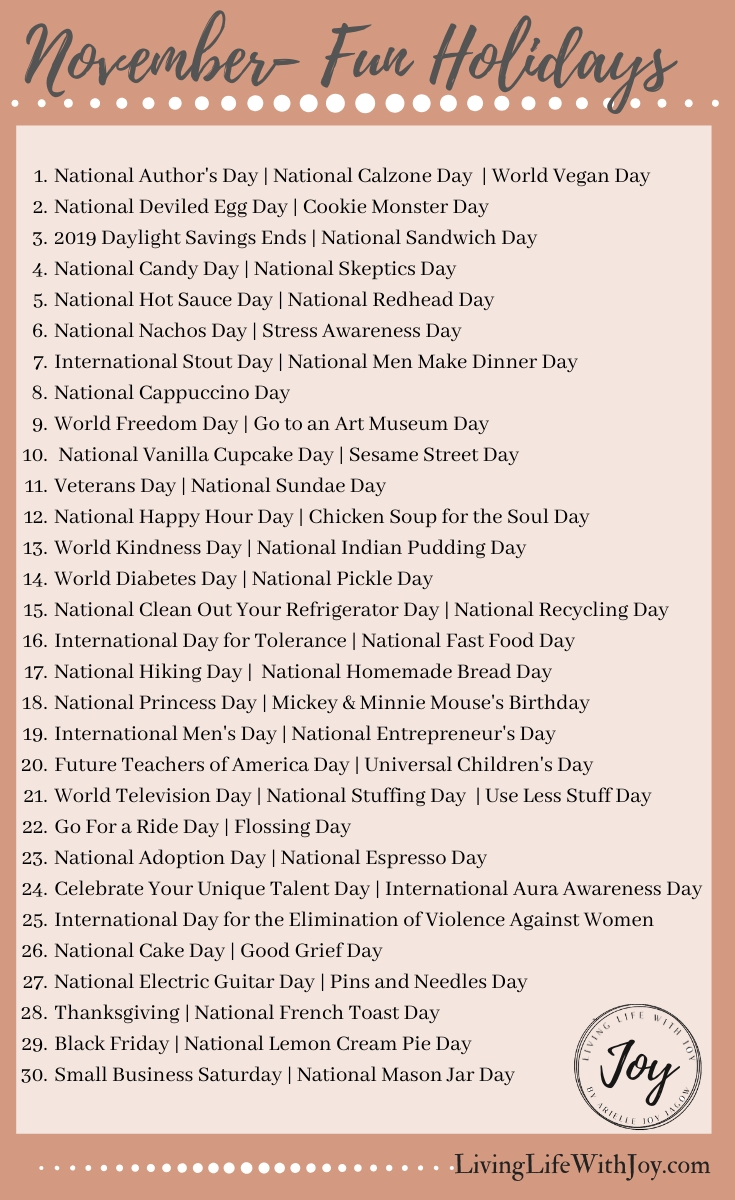 2019 Fun National Holidays | Living Life With Joy In 2020 within List Of Special Days 2020
