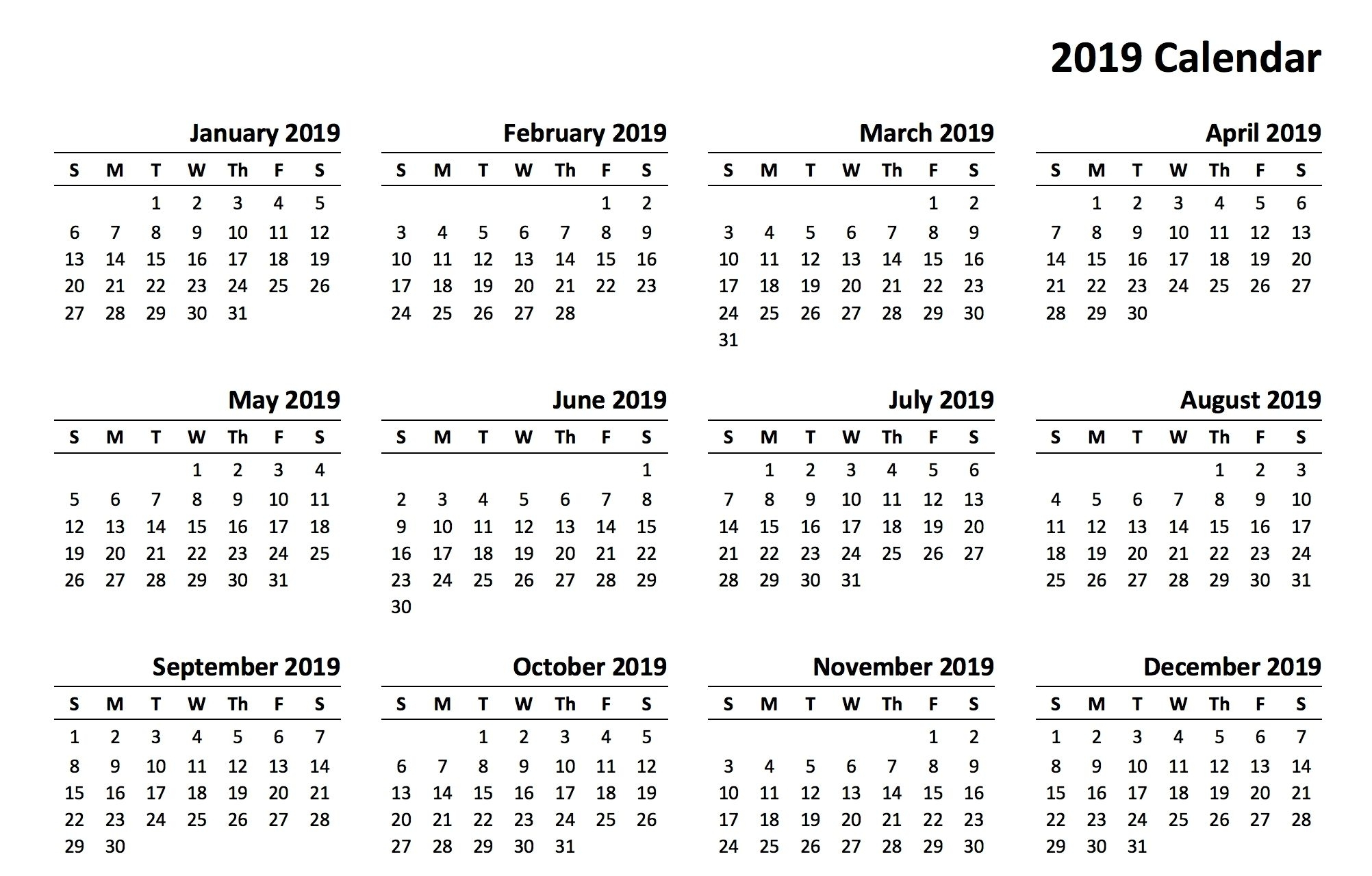 2019 Printable Calendar Templates Onlinedownload 2019 with regard to Fill In Calendar 2019 Pdf