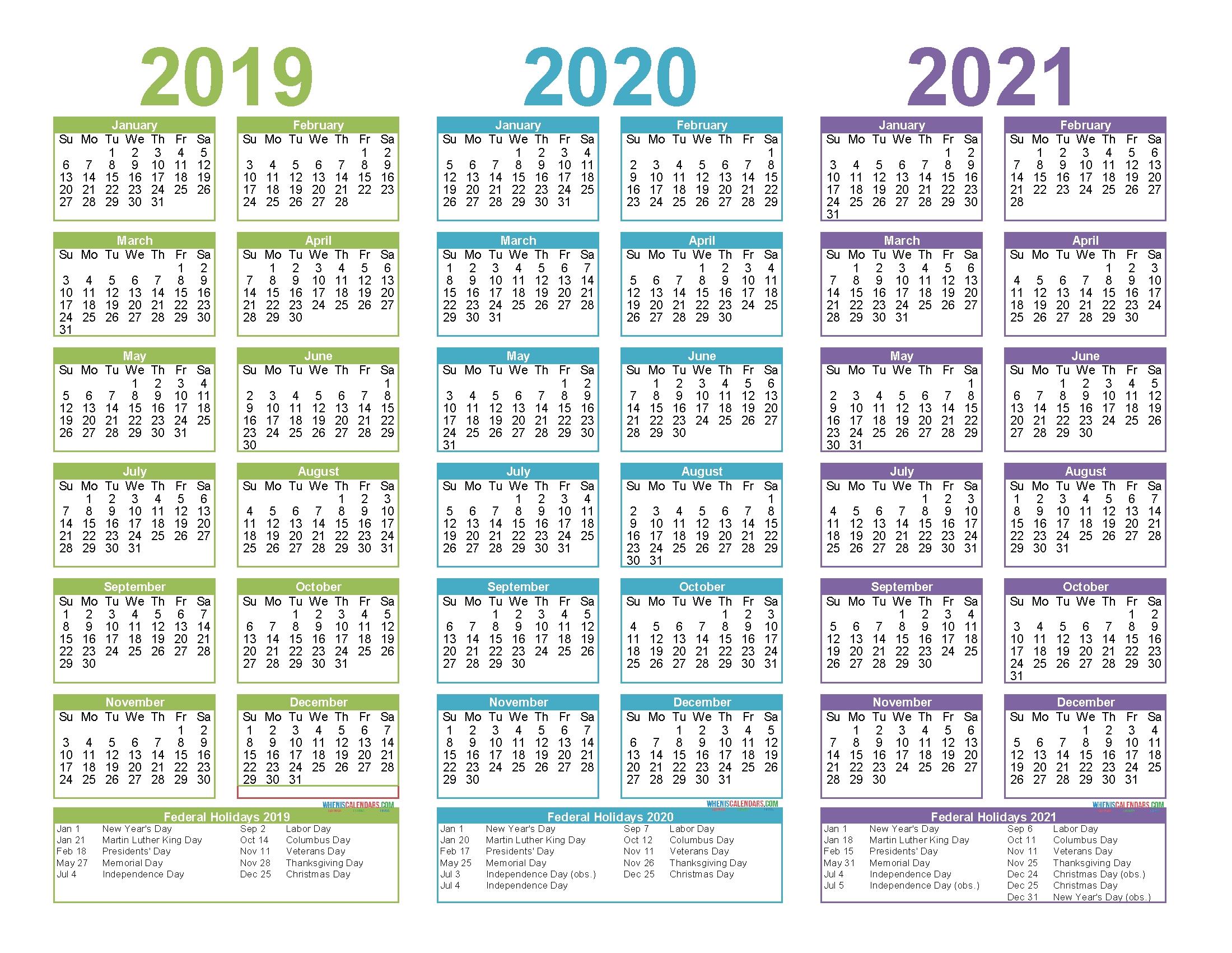 2019 To 2021 3 Year Calendar Printable Free Pdf, Word, Image inside 3 Year Calendar 2019 2020 2021 Printable