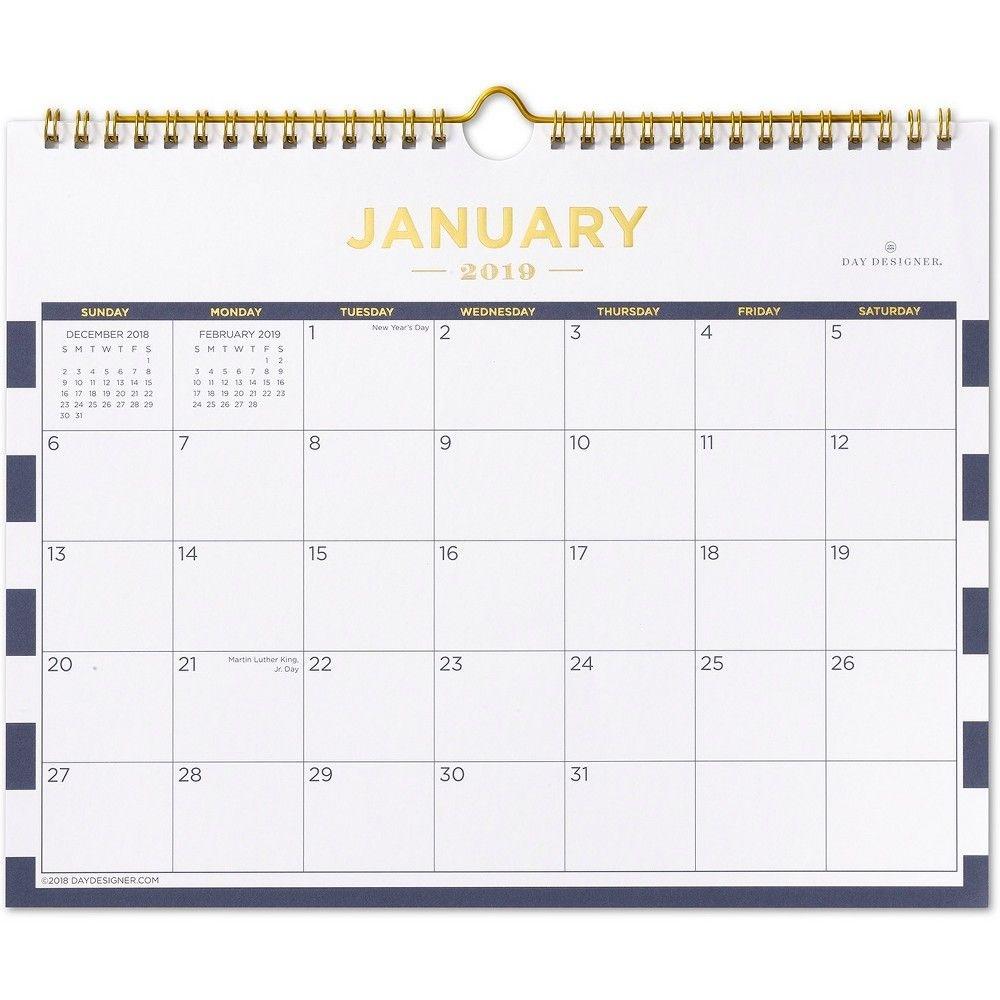 2019 Wall Calendar Navy (Blue) Stripe - Day Designer | Wall