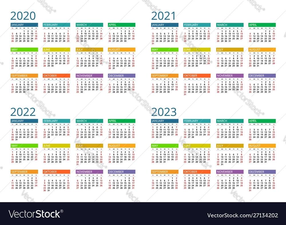 2020 2021 2022 2023 Calendar Print Template Vector Image for 2020 2021 2022 Calendar Printable