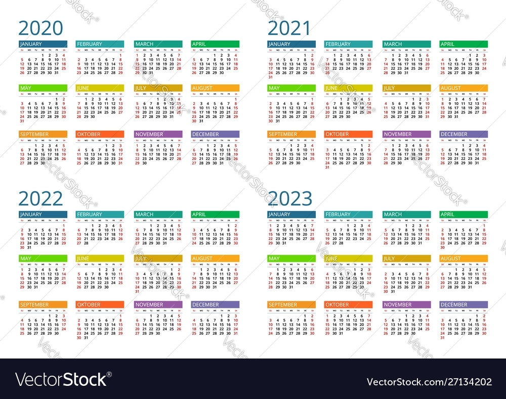 2020 2021 2022 2023 Calendar Print Template Vector Image