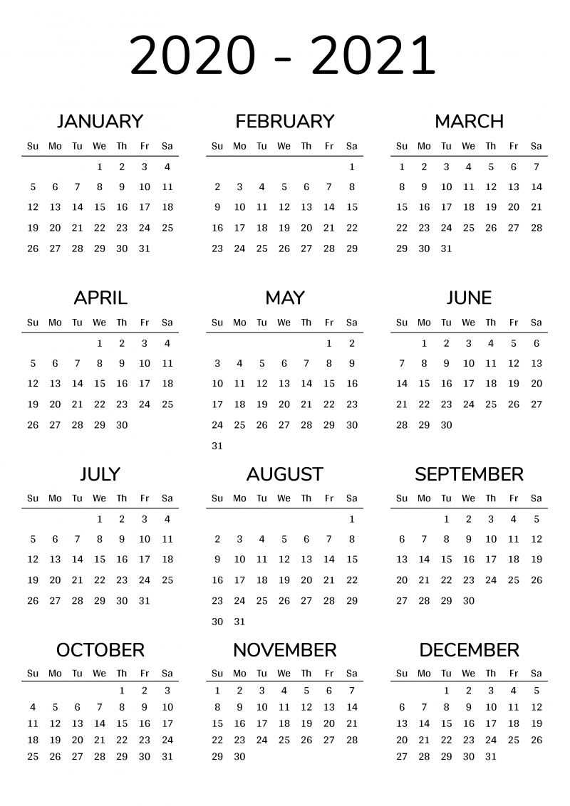 2020-2021 Printable Calendar For 2 Years