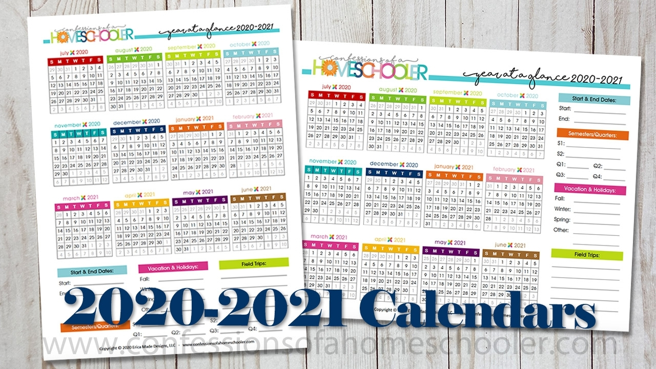 2020-2021 Year At A Glance Printable Calendars - Confessions