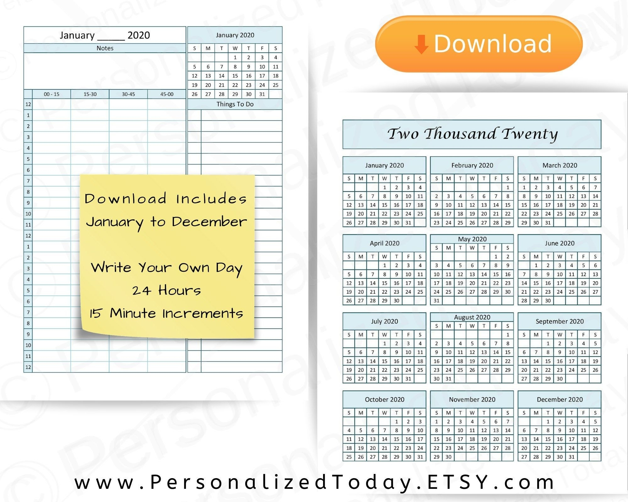 2020 Annual Calendar Printable With Notes Daily Pdf Digital